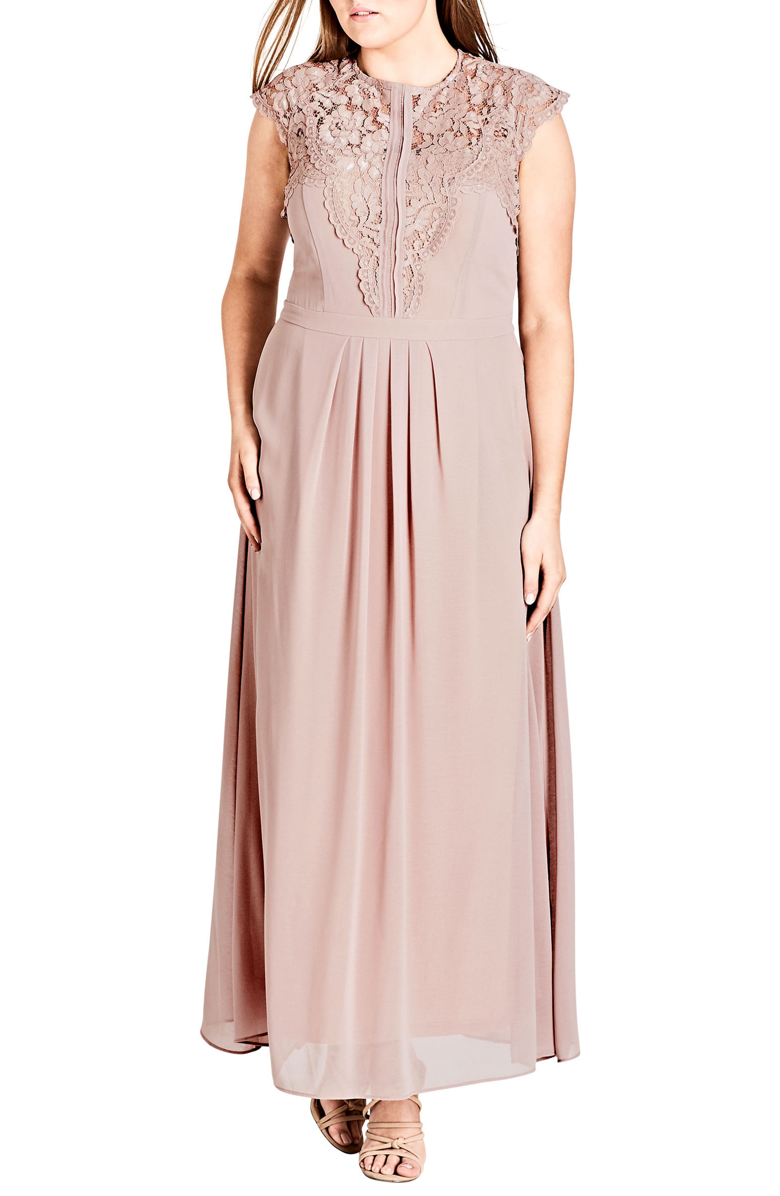 City Chic Lace Bodice Maxi Dress (Plus Size)