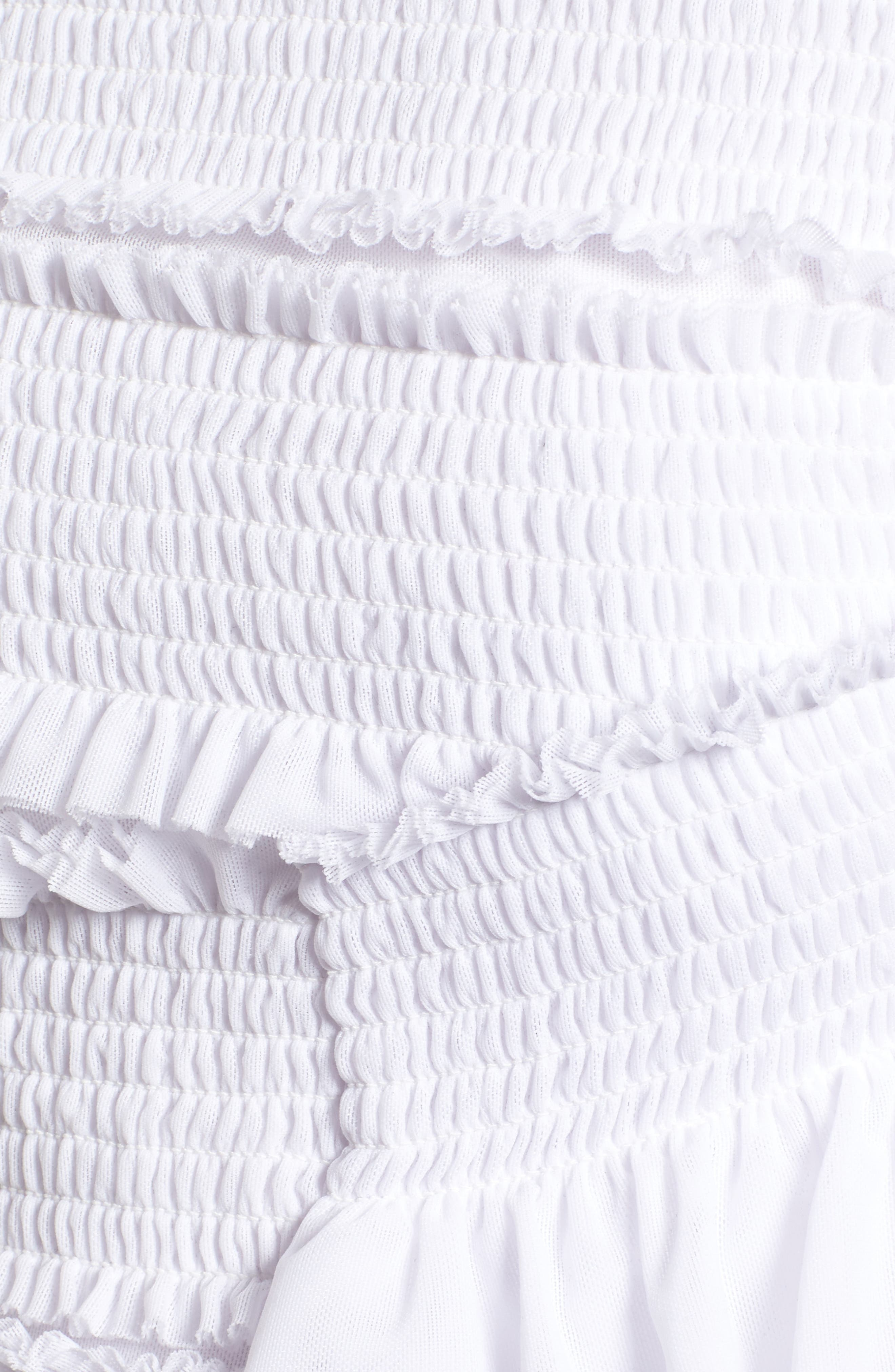 Smocked Ruffle Off the Shoulder Top,                             Alternate thumbnail 5, color,                             White