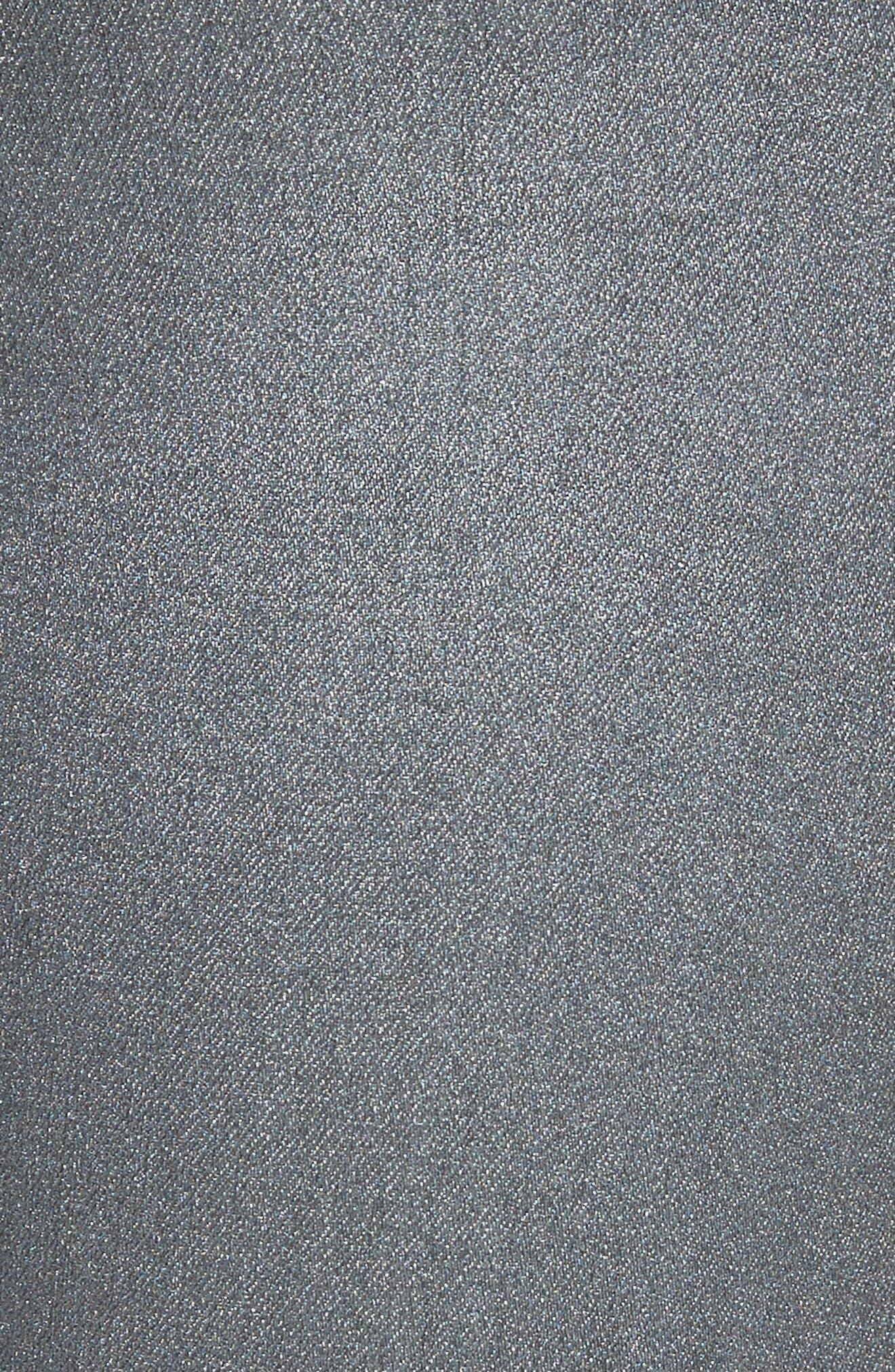 Reina Glitter Skinny Jeans,                             Alternate thumbnail 5, color,                             Black Used Glitter Silver