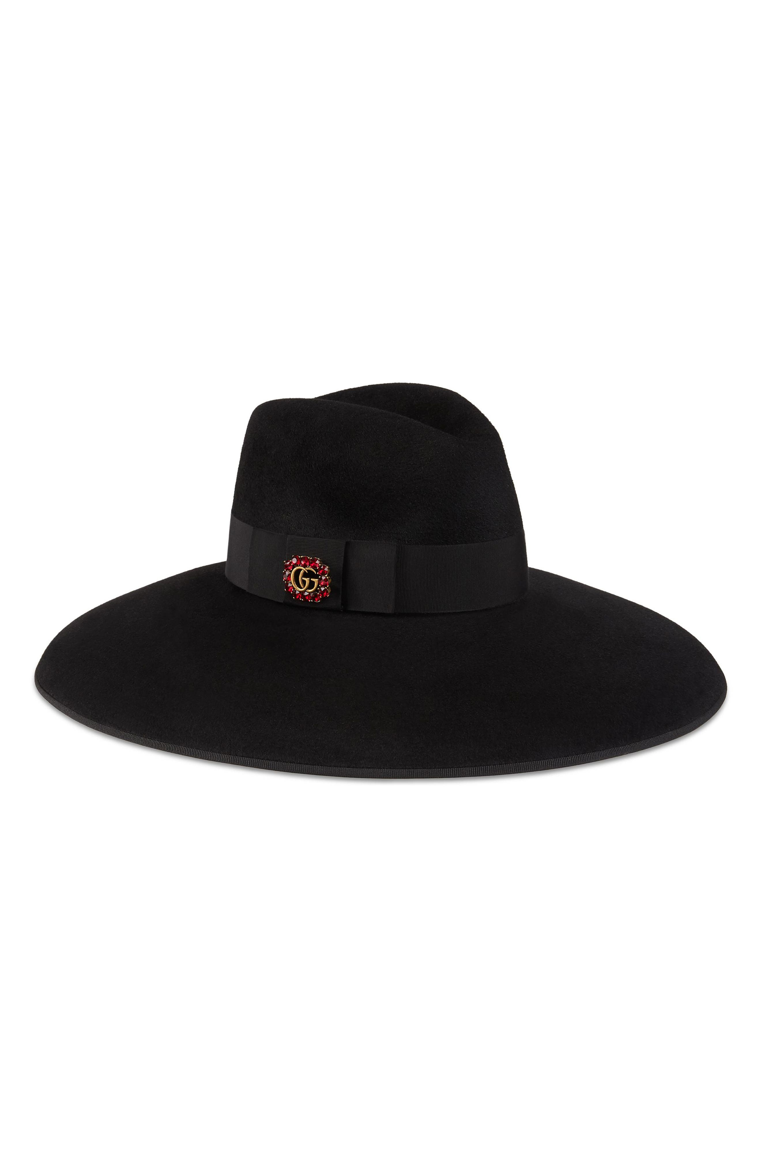 Fur Felt Wide Brim Hat,                         Main,                         color, Black/ Black