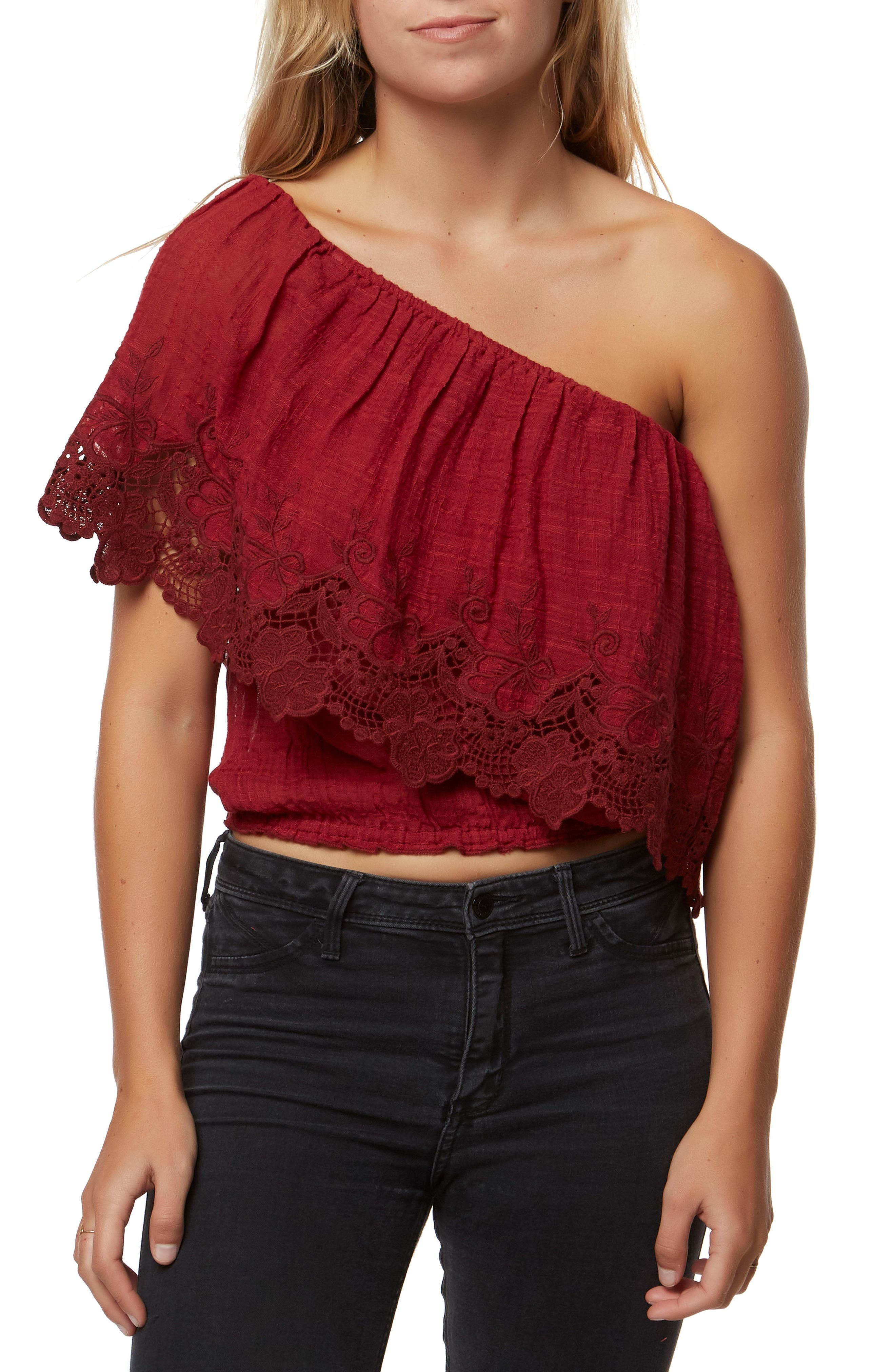 Sabrina Ruffle One-Shoulder Top,                             Main thumbnail 1, color,                             Ruby