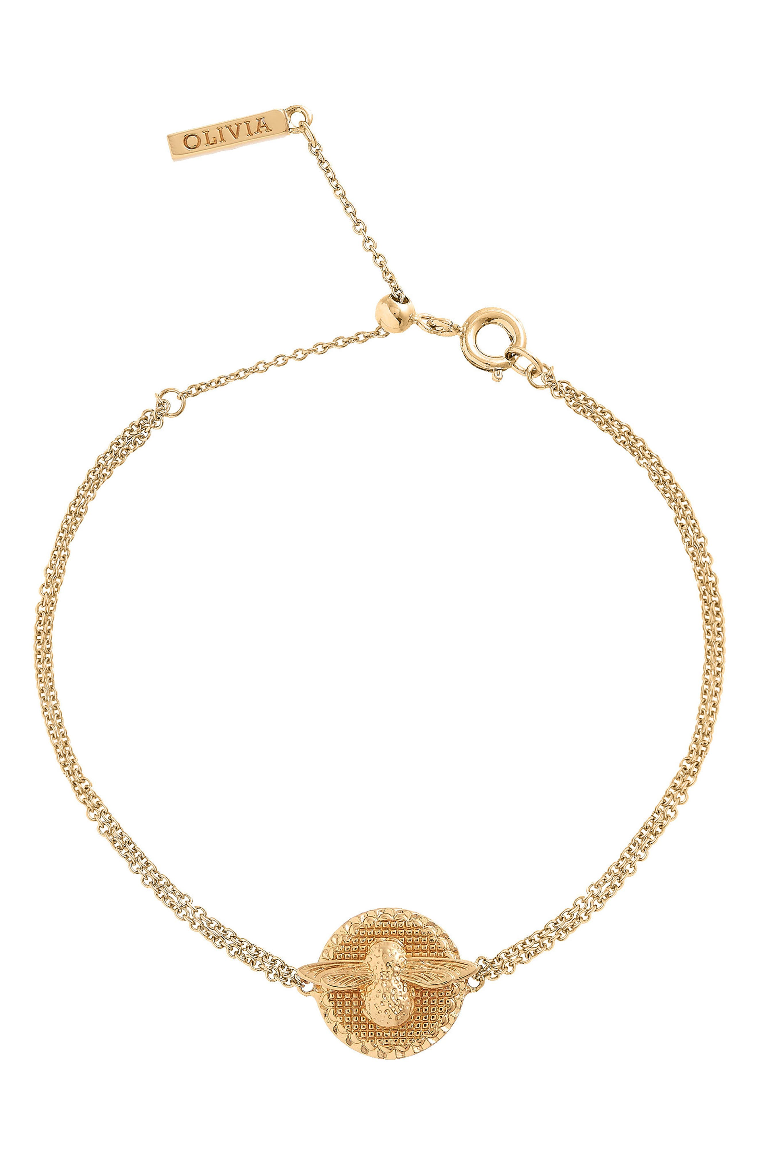 Bee Coin Bracelet,                         Main,                         color, Gold