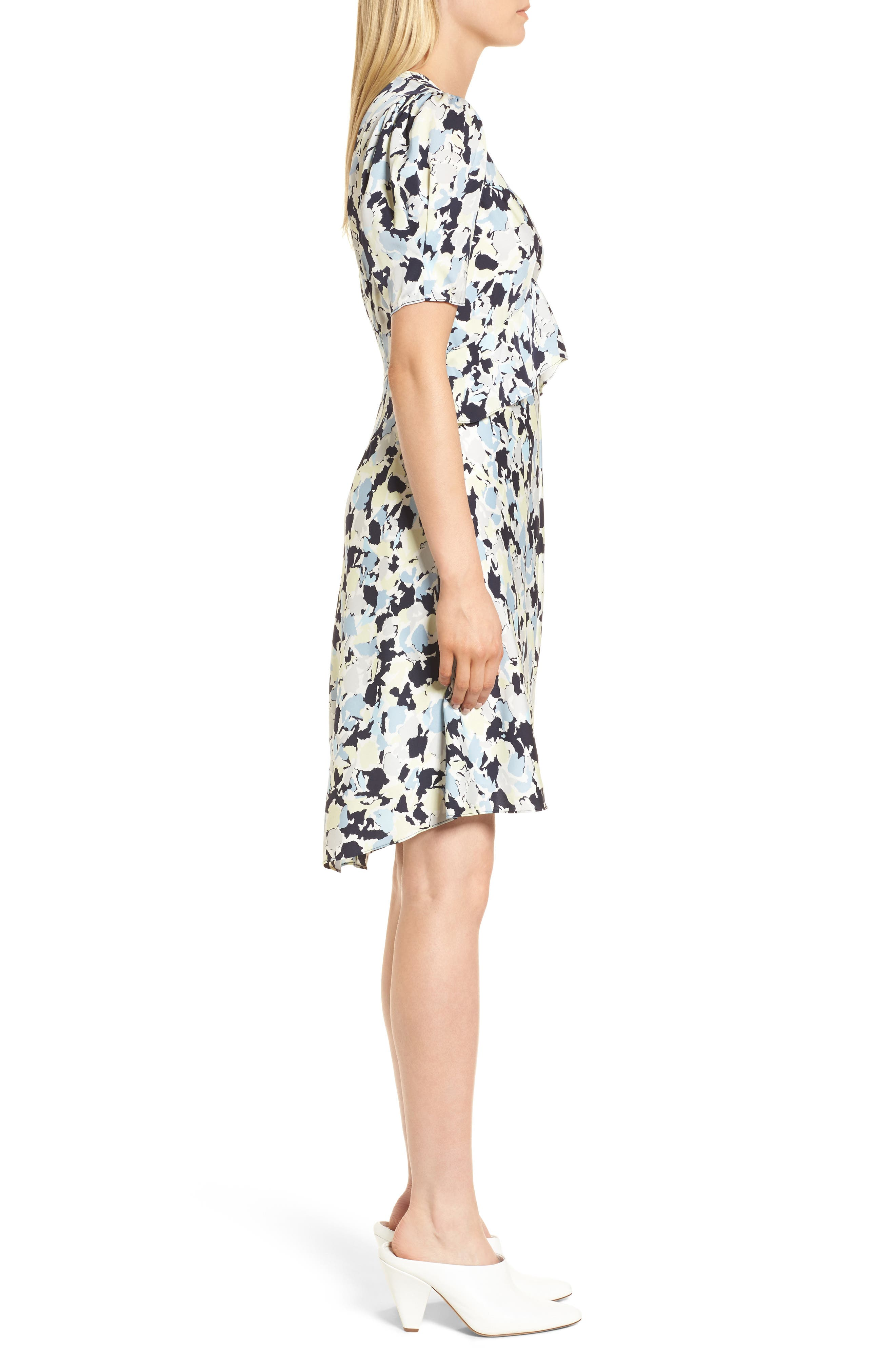 Ruffle Front A-Line Stretch Silk Dress,                             Alternate thumbnail 3, color,                             Navy Night Gia Print