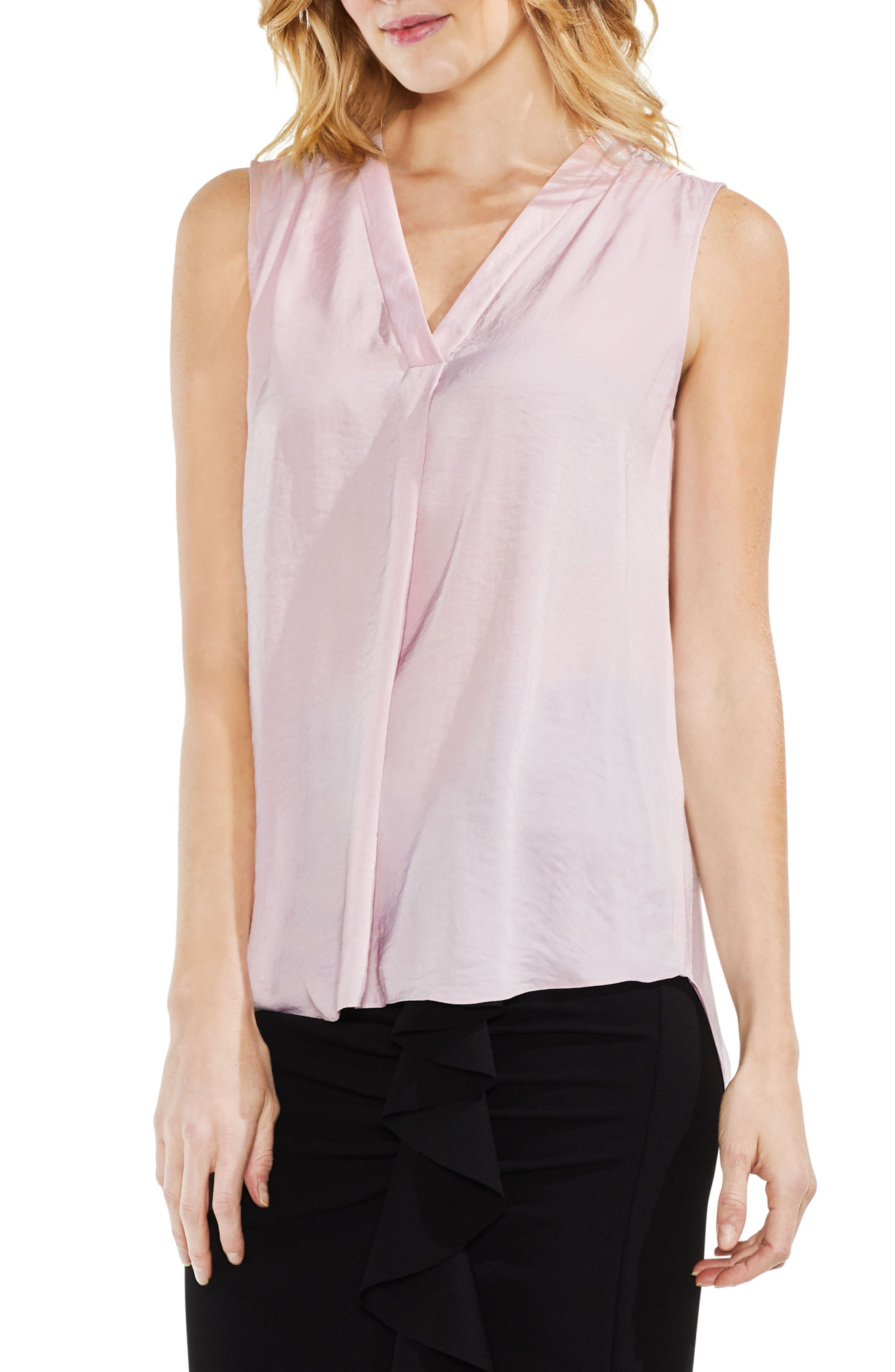 Rumpled Satin Blouse,                         Main,                         color, Pink Bliss