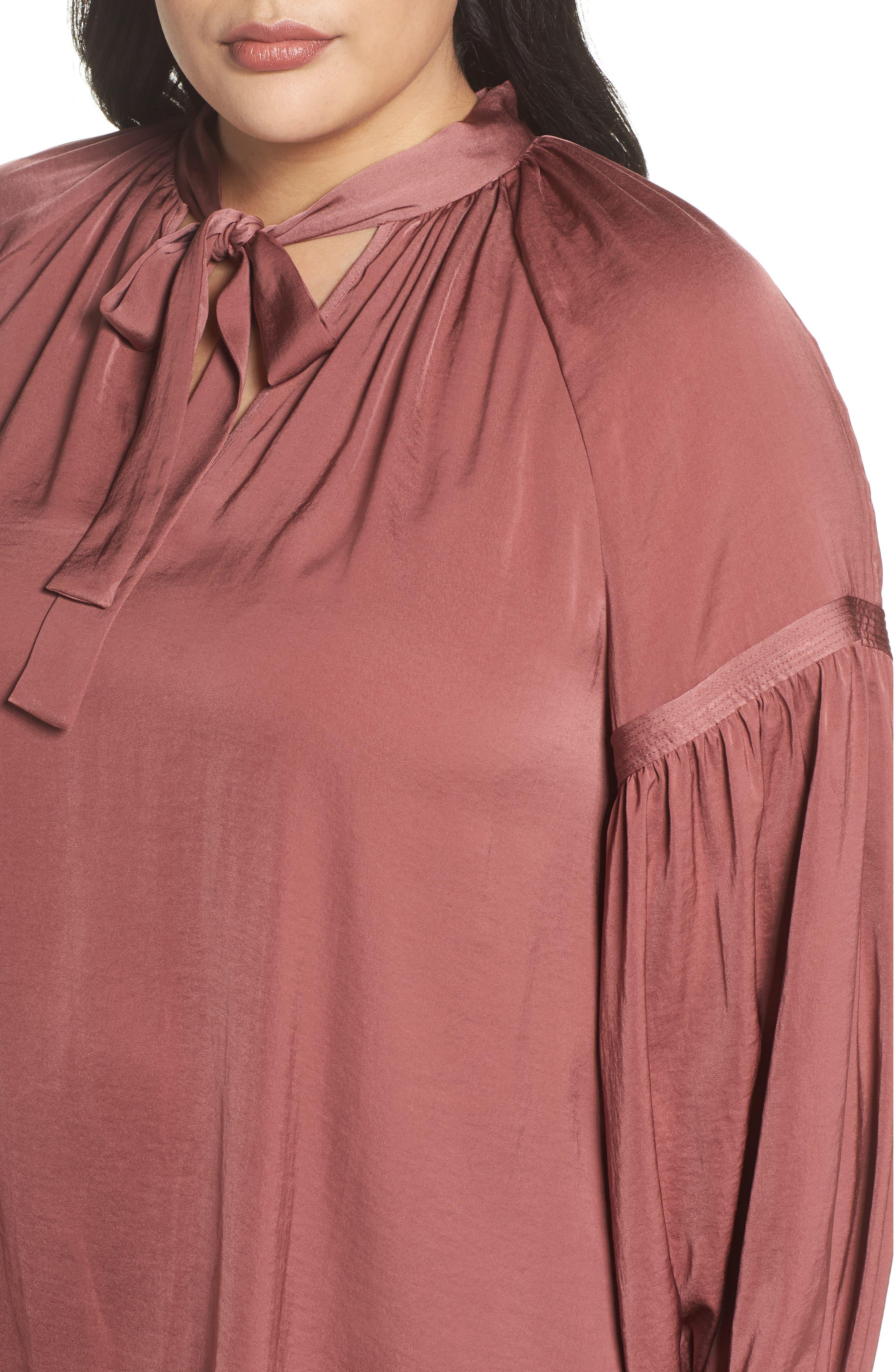 Alternate Image 4  - Lucky Brand Jenna Peasant Top (Plus Size)