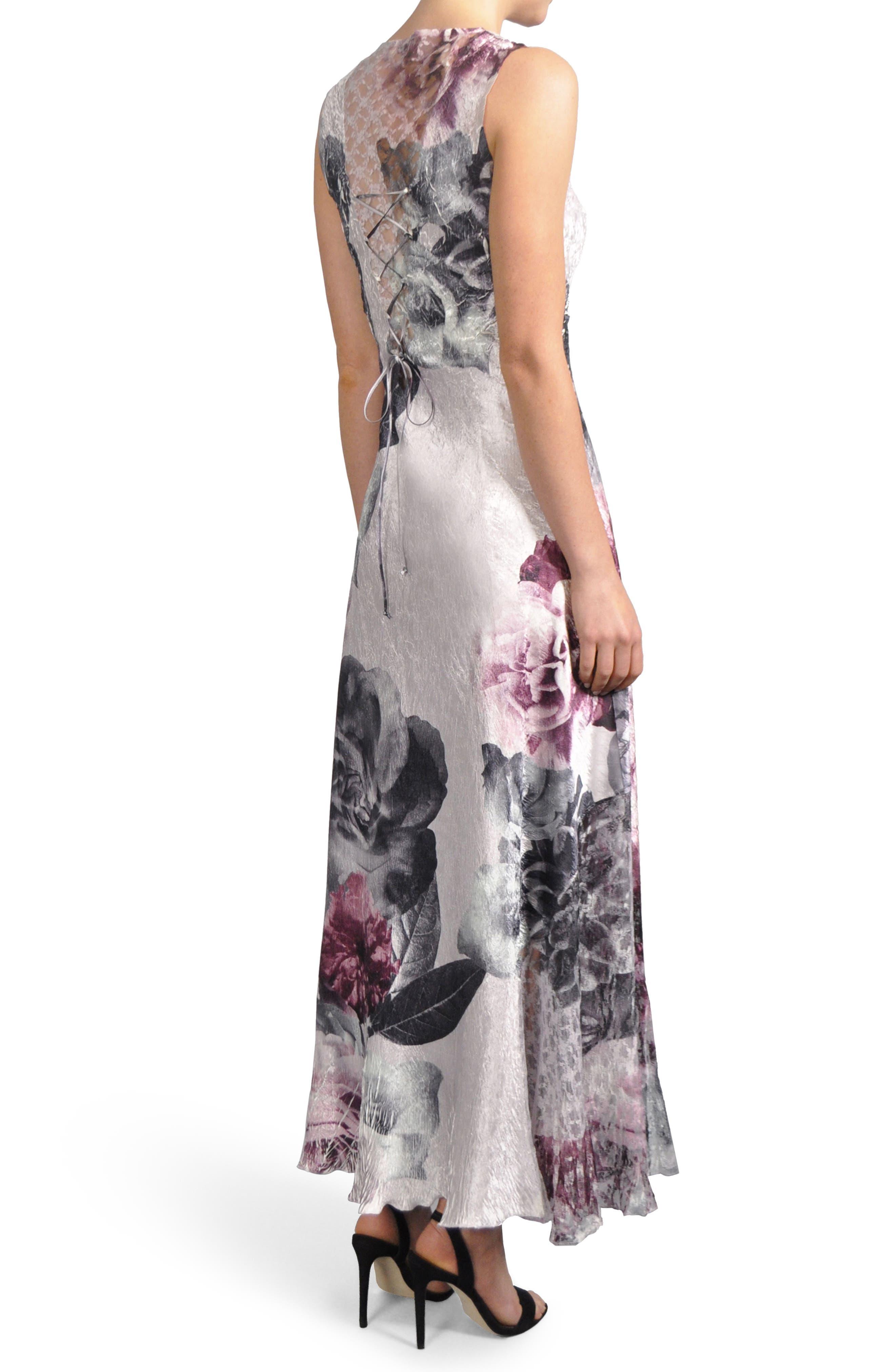 Alternate Image 2  - Komorav Lace-Up Back Maxi Dress with Shawl (Regular & Petite)