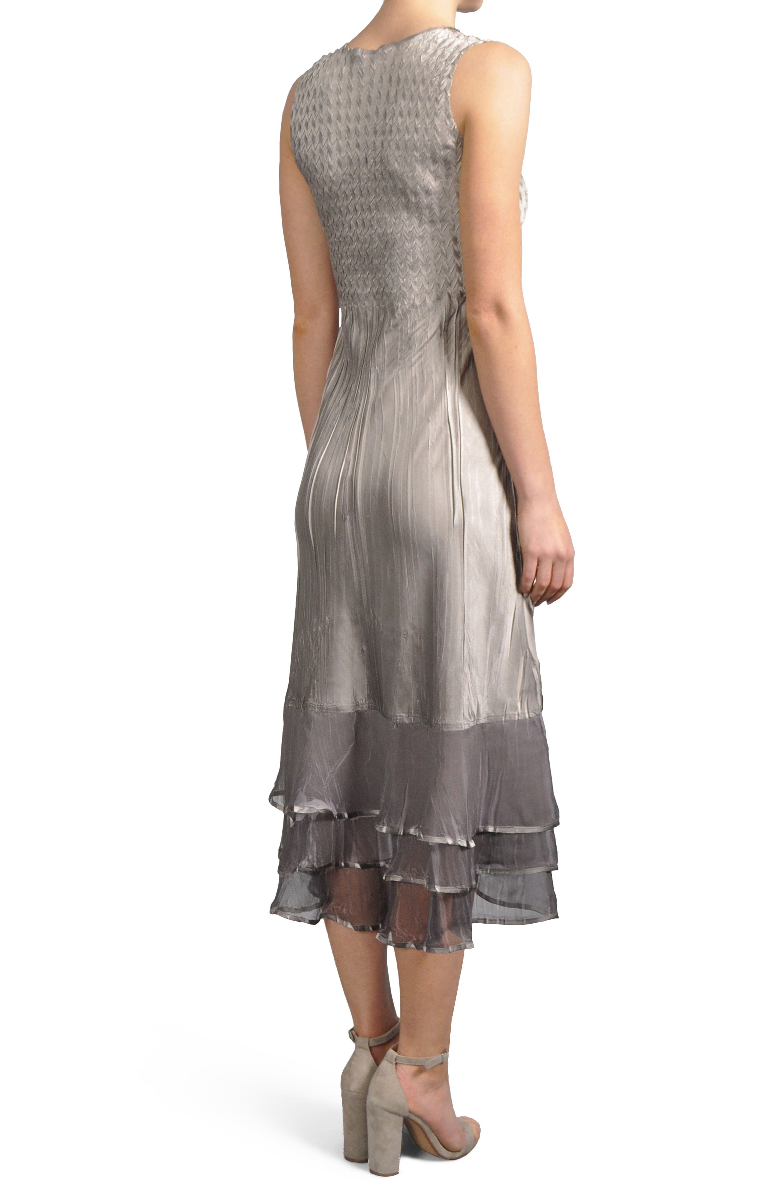 Embellished Tiered Hem Dress With Jacket,                             Alternate thumbnail 4, color,                             Oyster Smoke Ombre