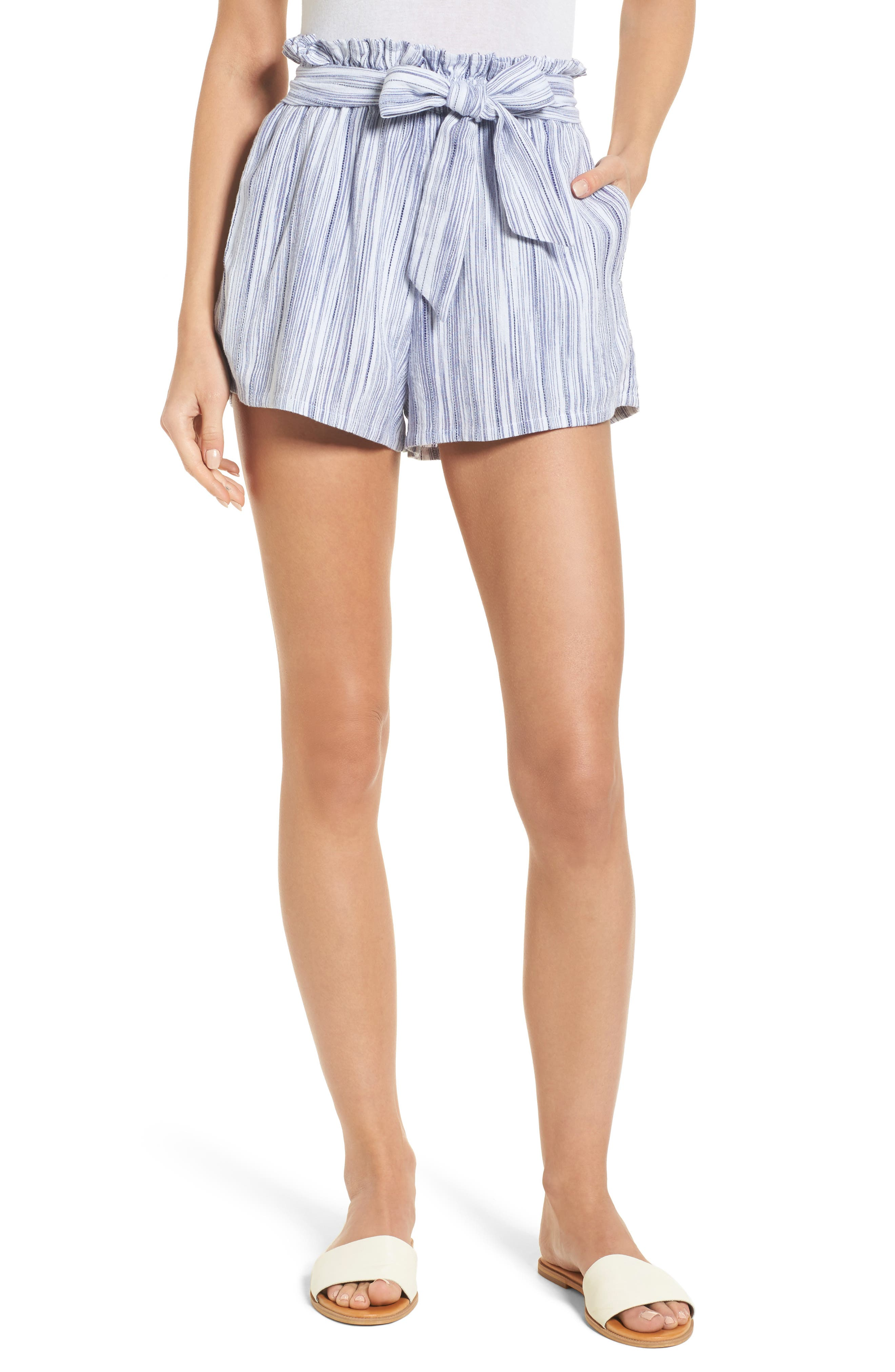 Stripe Paperbag Waist Shorts,                             Main thumbnail 1, color,                             Riviera Blue