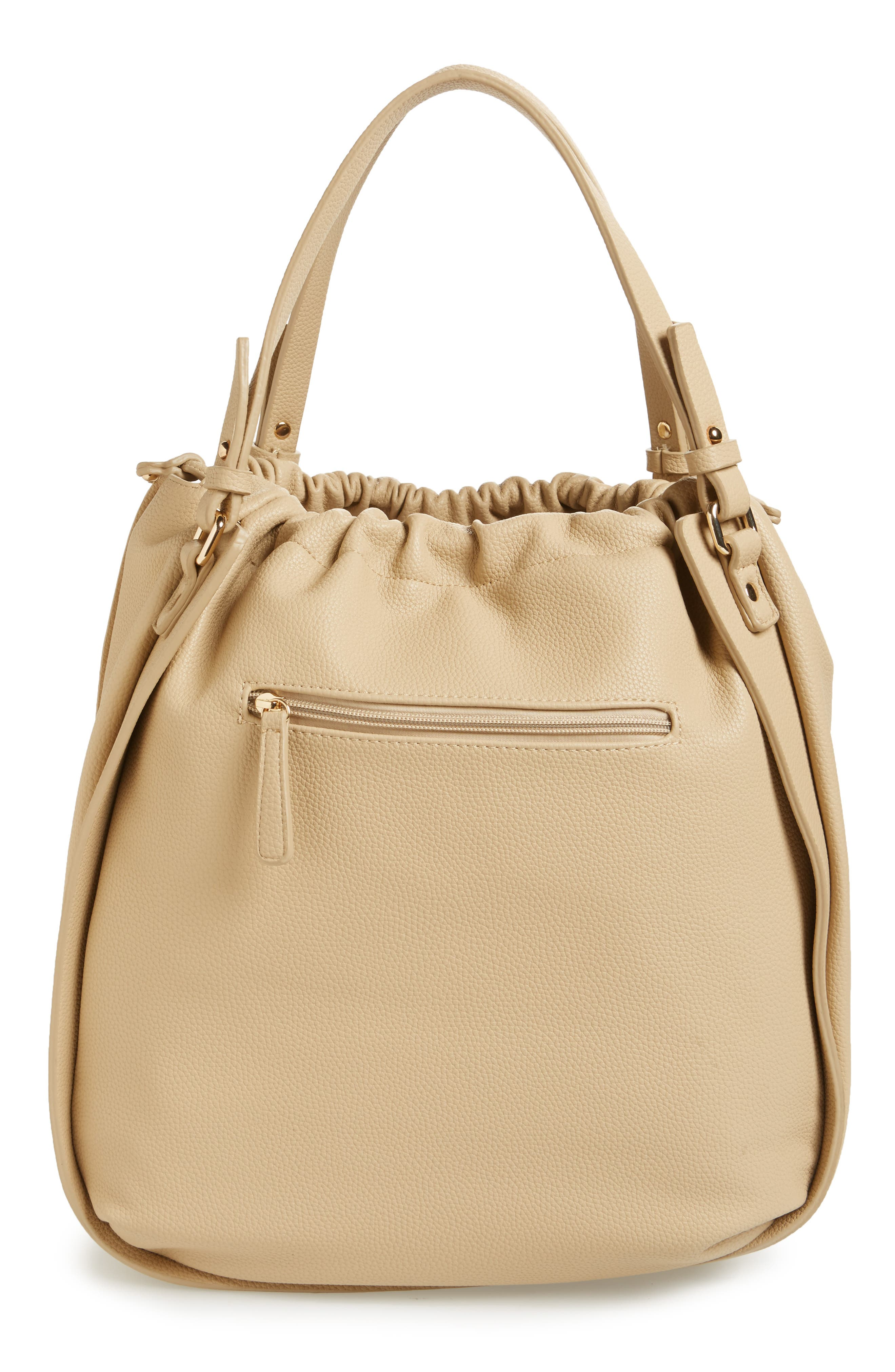 Faux Leather Drawstring Tote,                             Alternate thumbnail 3, color,                             Taupe