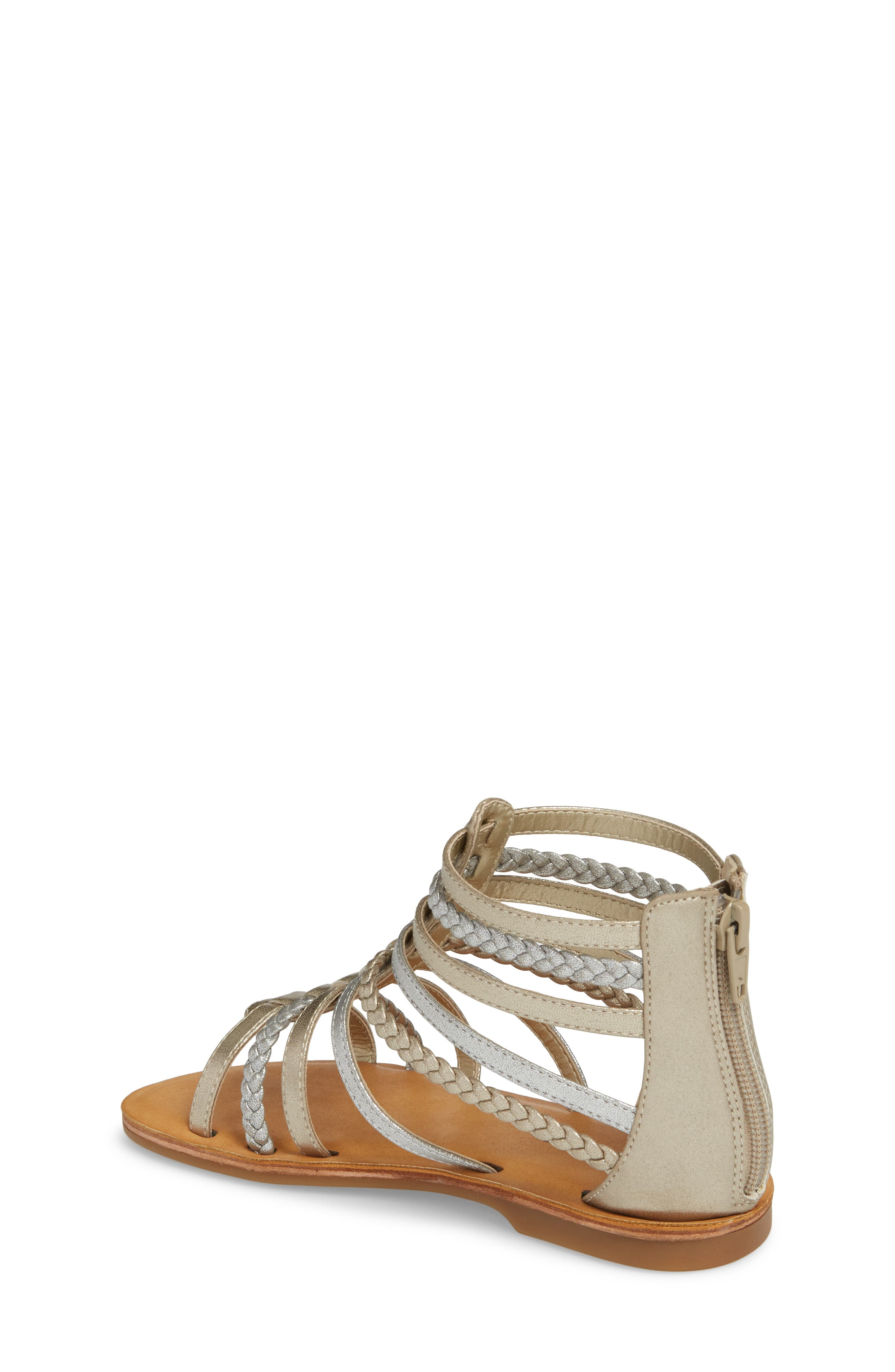 Sonja Braided Gladiator Sandal,                             Alternate thumbnail 2, color,                             Silver/ Gold Faux Leather
