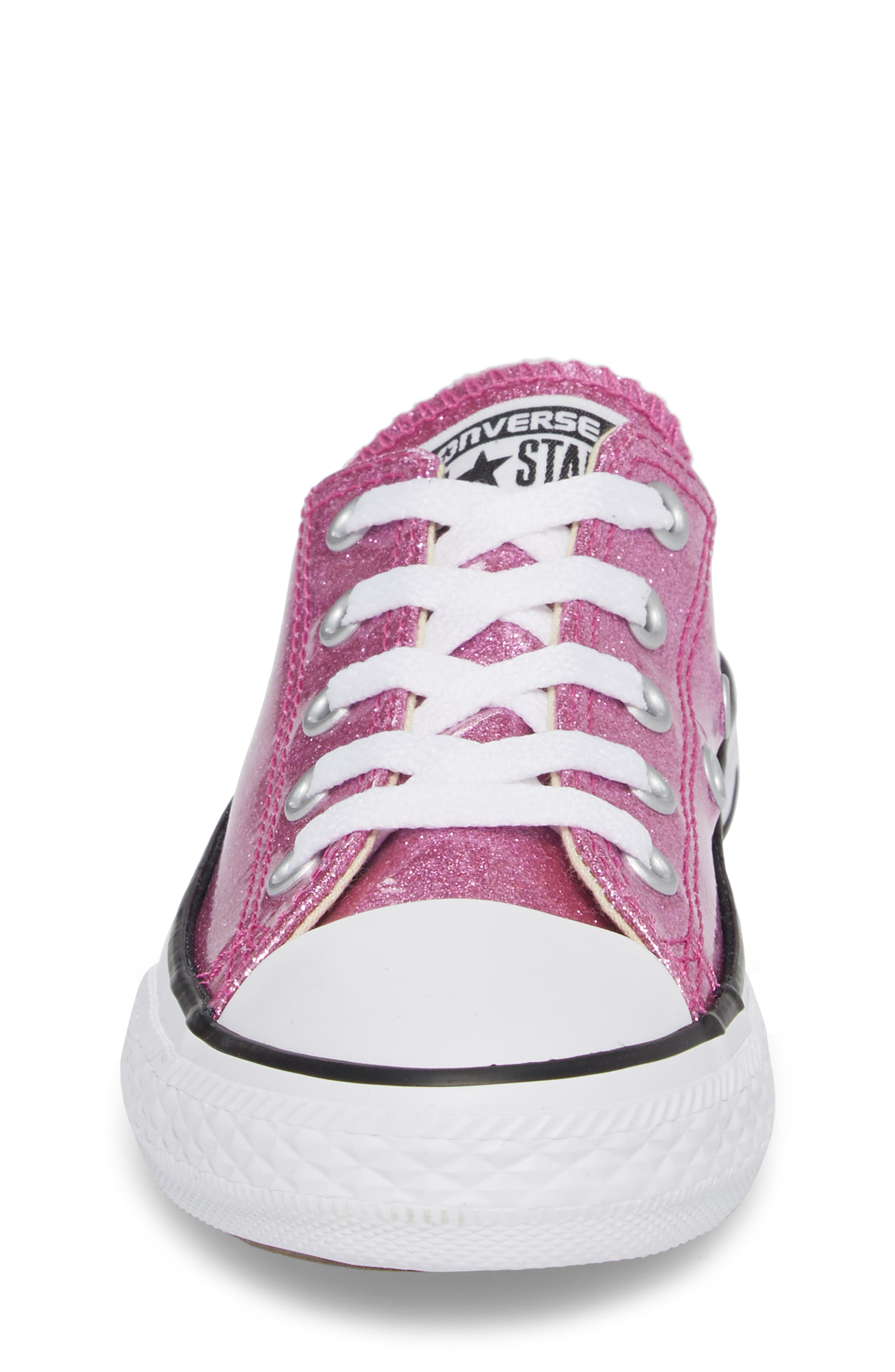 All Star<sup>®</sup> Seasonal Glitter OX Low Top Sneaker,                             Alternate thumbnail 4, color,                             Bright Violet