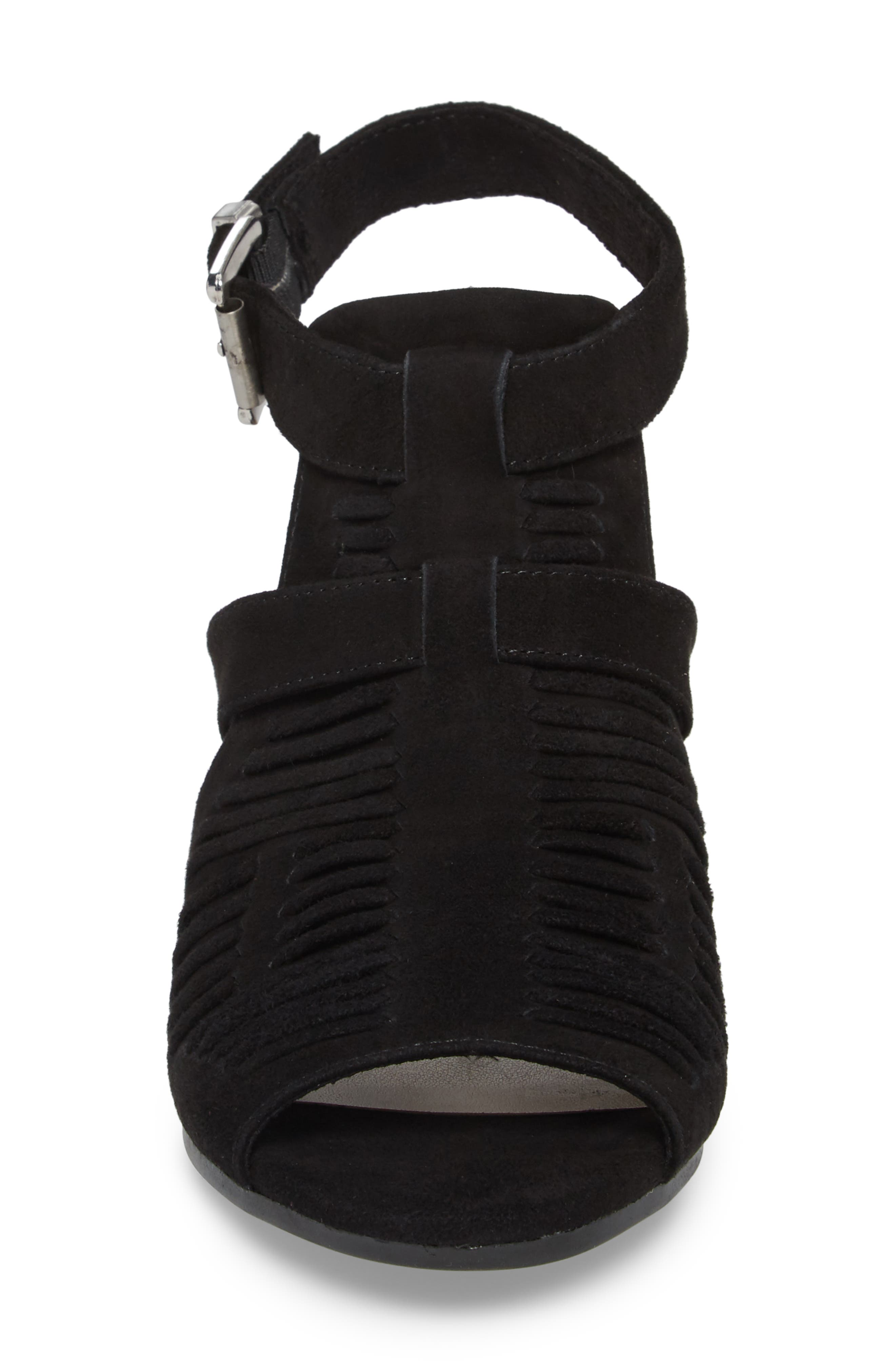 Finley Ankle Strap Sandal,                             Alternate thumbnail 4, color,                             Black Suede