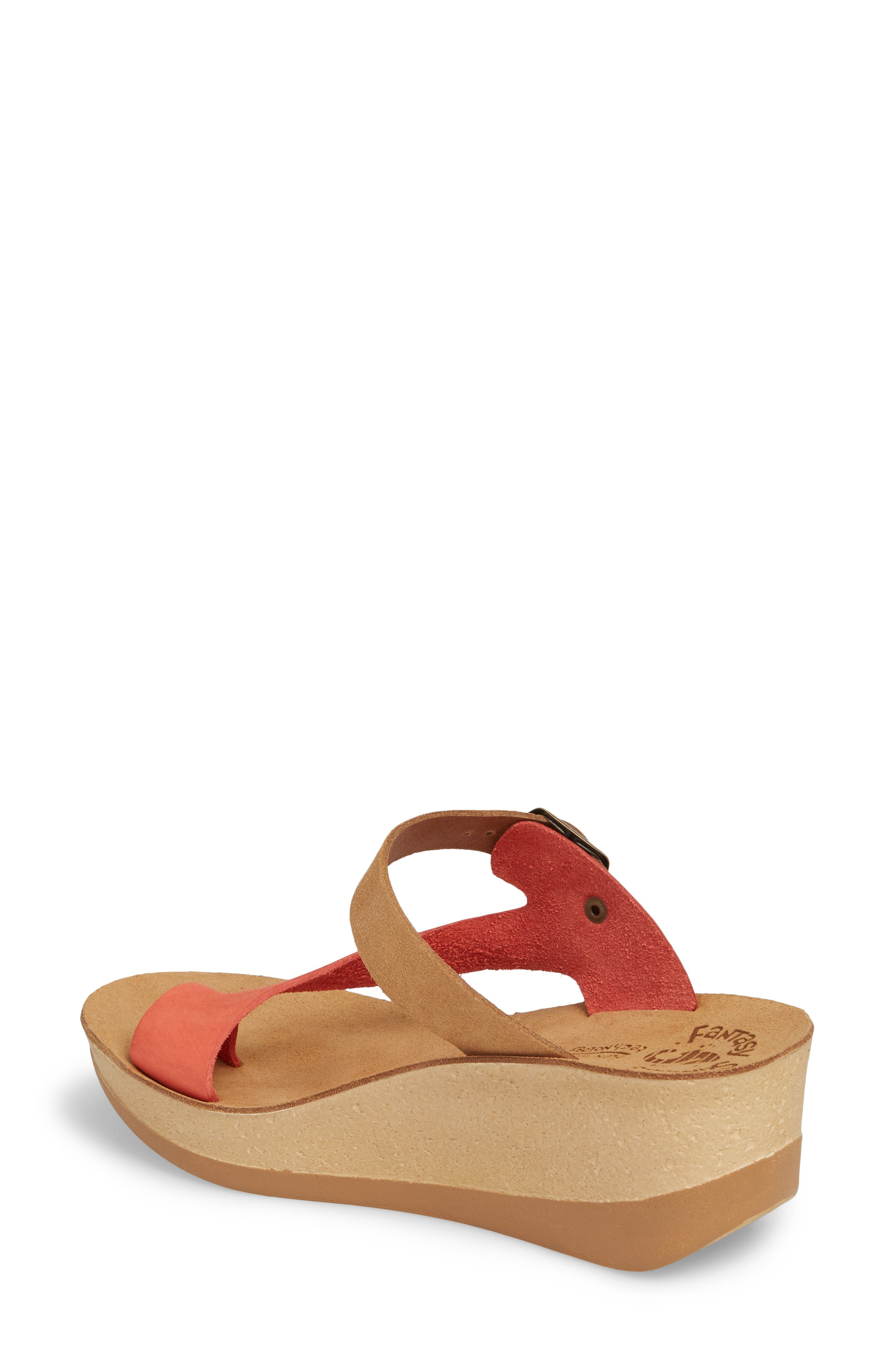 Felisa Wedge Sandal,                             Alternate thumbnail 2, color,                             Cuoio Red Leather