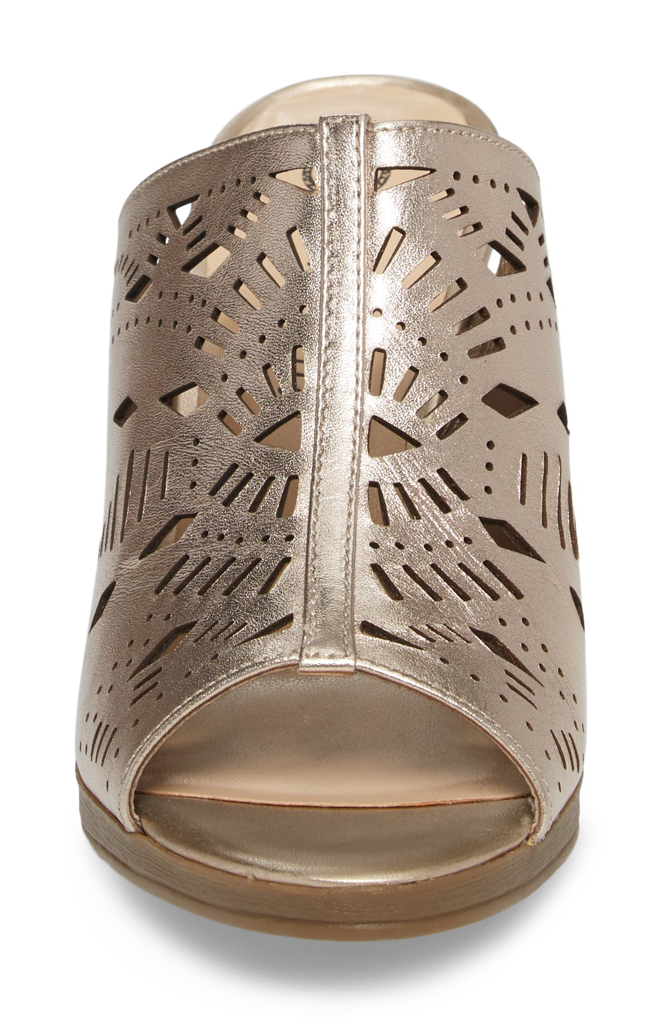 Lark Laser Perforated Slide Sandal,                             Alternate thumbnail 4, color,                             Champagne Leather