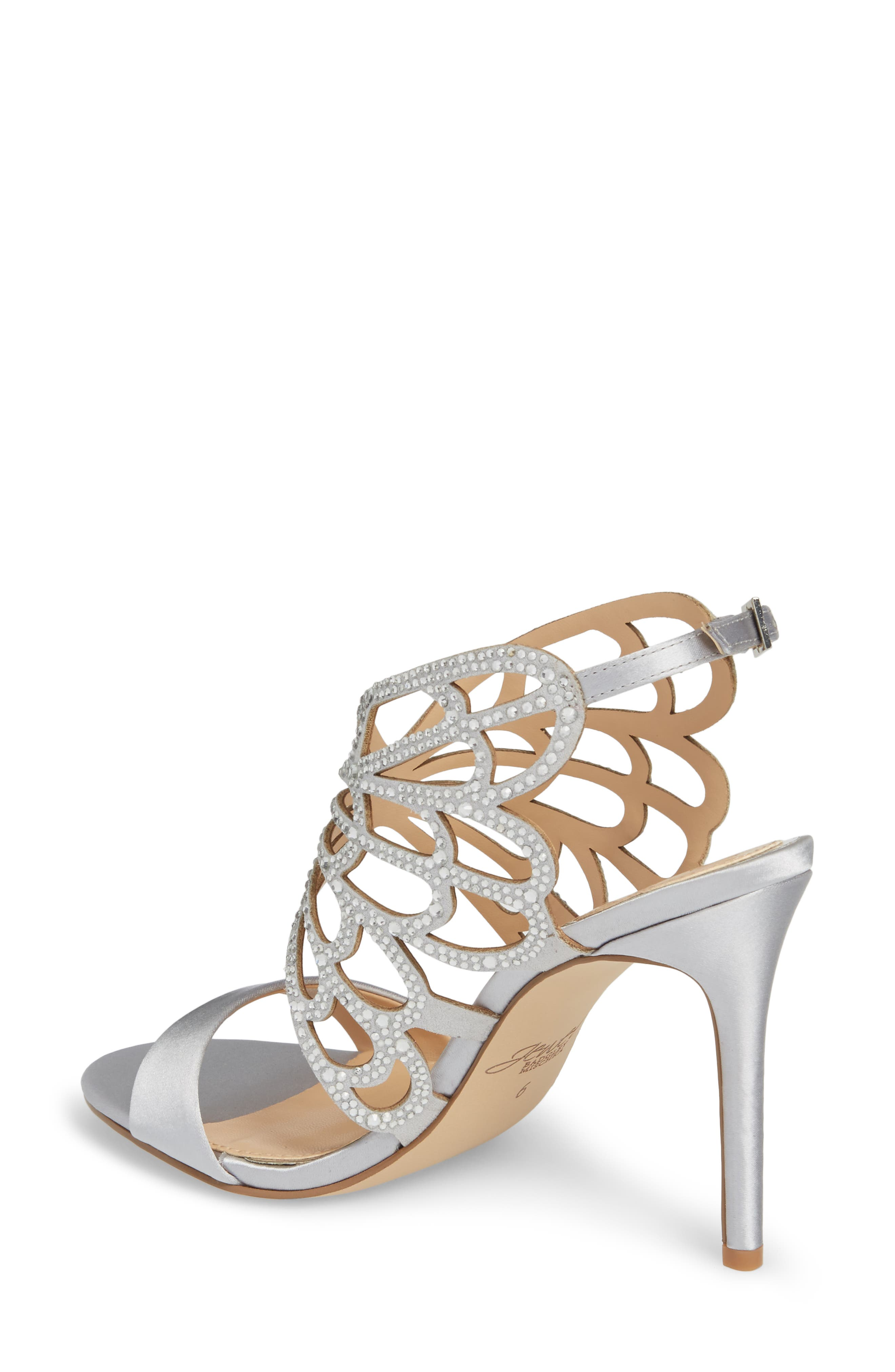 Taresa Crystal Embellished Butterfly Sandal,                             Alternate thumbnail 2, color,                             Silver Satin