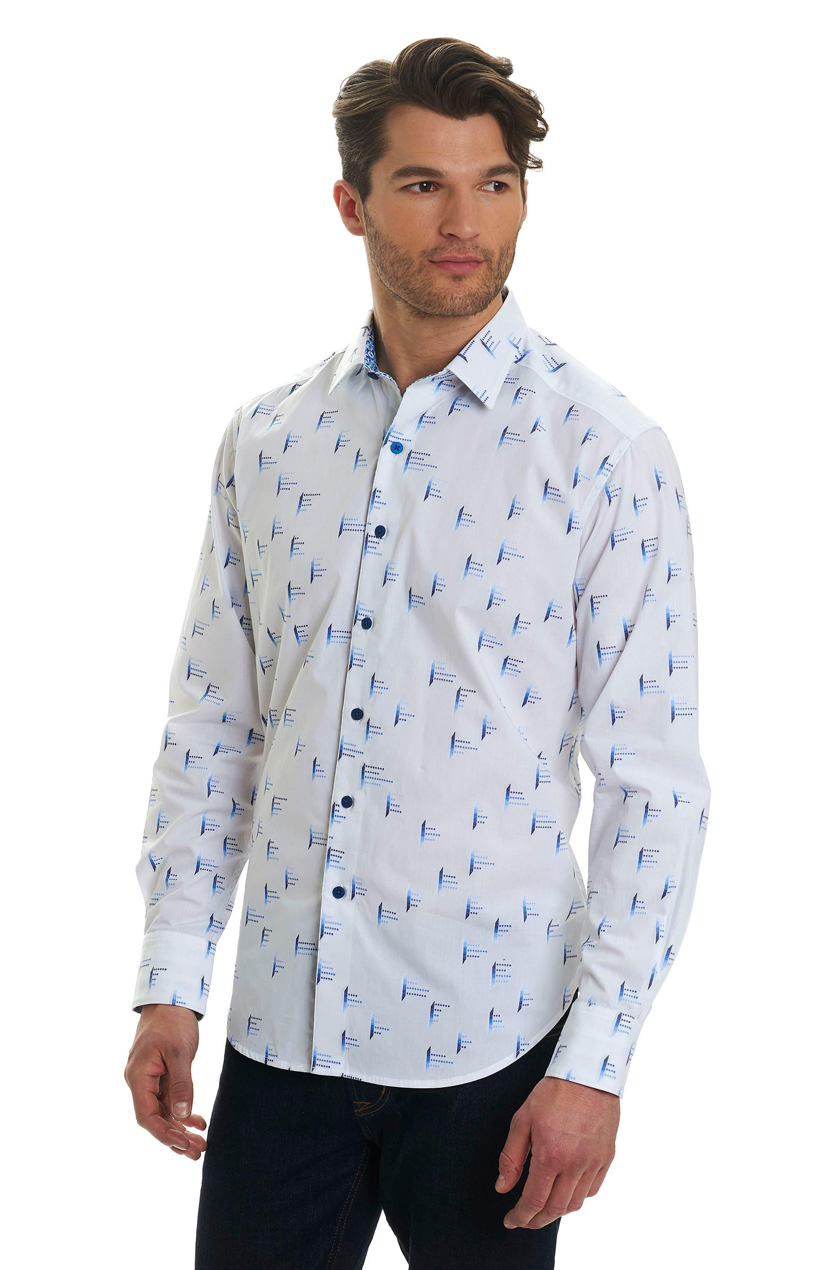 Reid Classic Fit Print Sport Shirt,                             Alternate thumbnail 4, color,                             White
