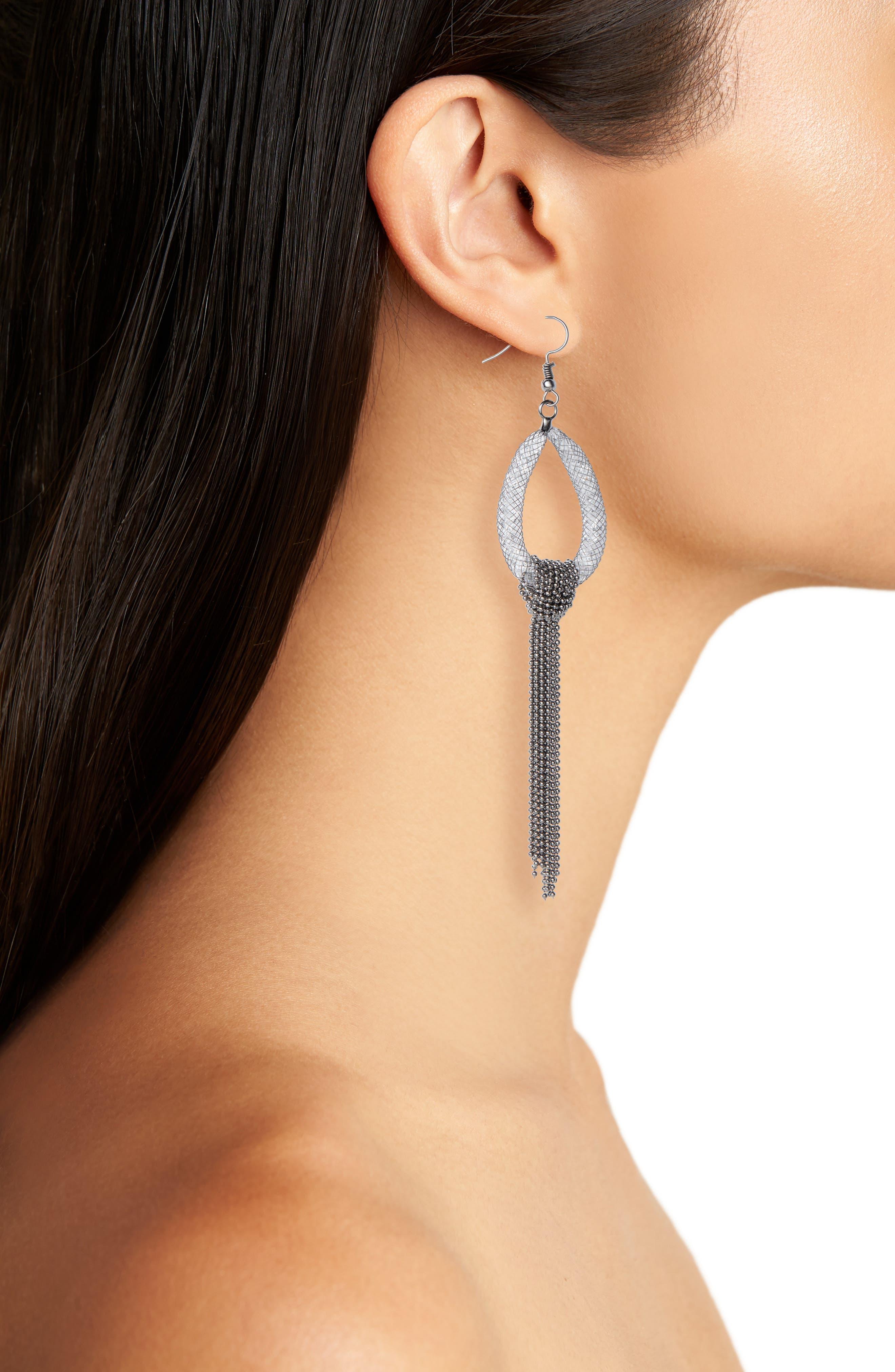Atashia Oval Mesh Crystal Statement Earrings,                             Alternate thumbnail 2, color,                             Dark Silver