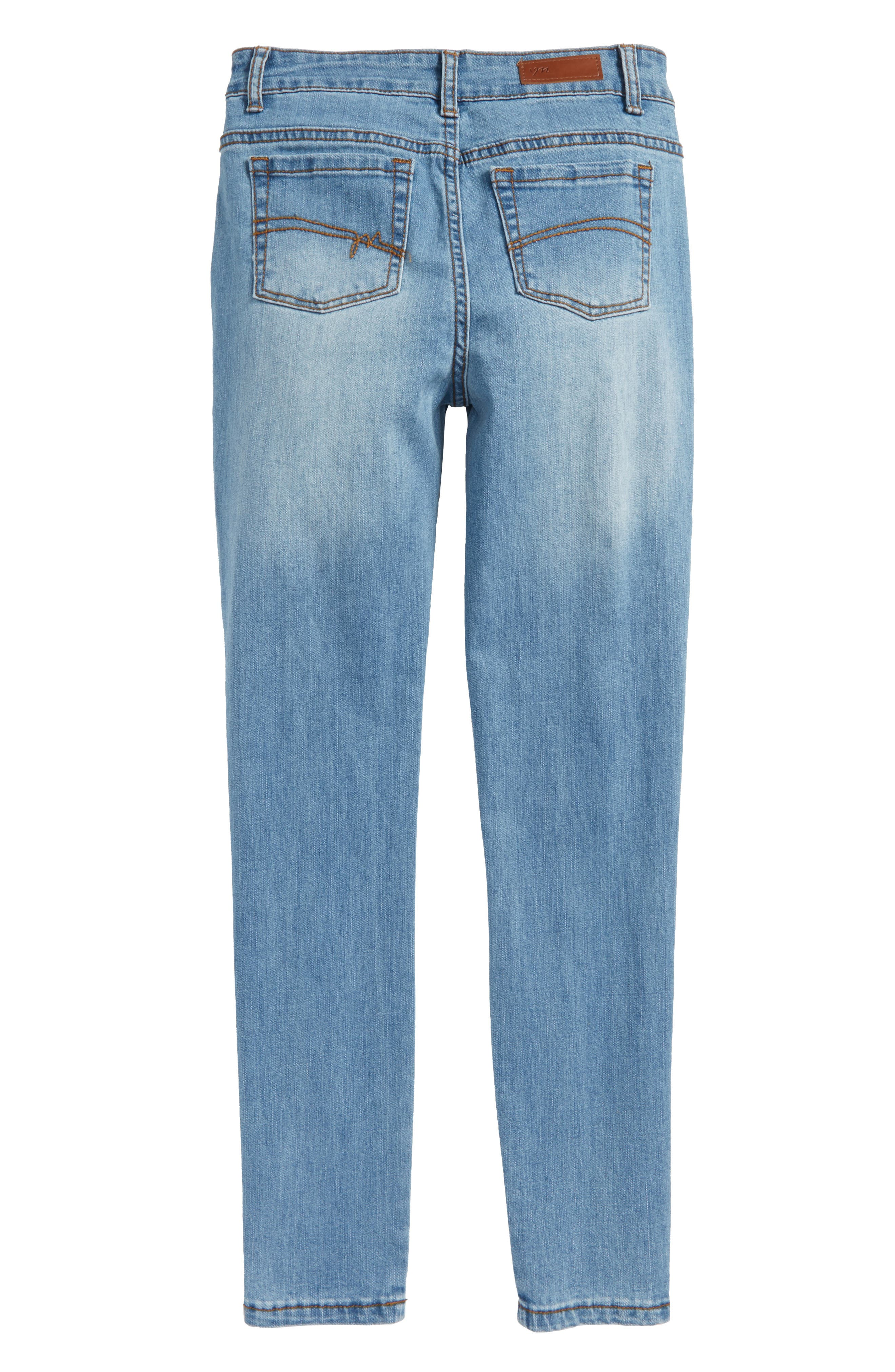 Distressed Skinny Jeans,                             Alternate thumbnail 2, color,                             Light Blue Denim