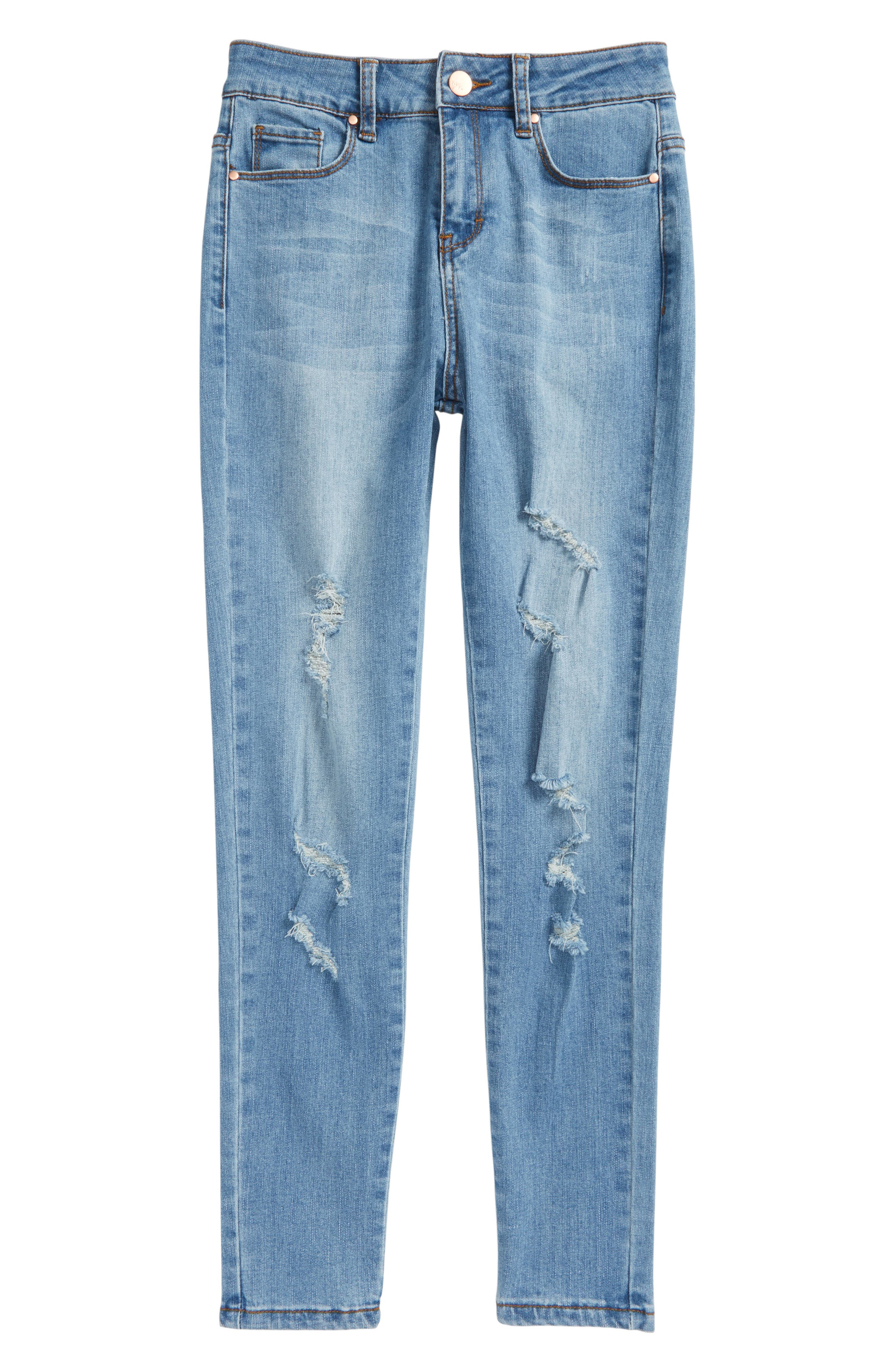 Distressed Skinny Jeans,                             Main thumbnail 1, color,                             Light Blue Denim