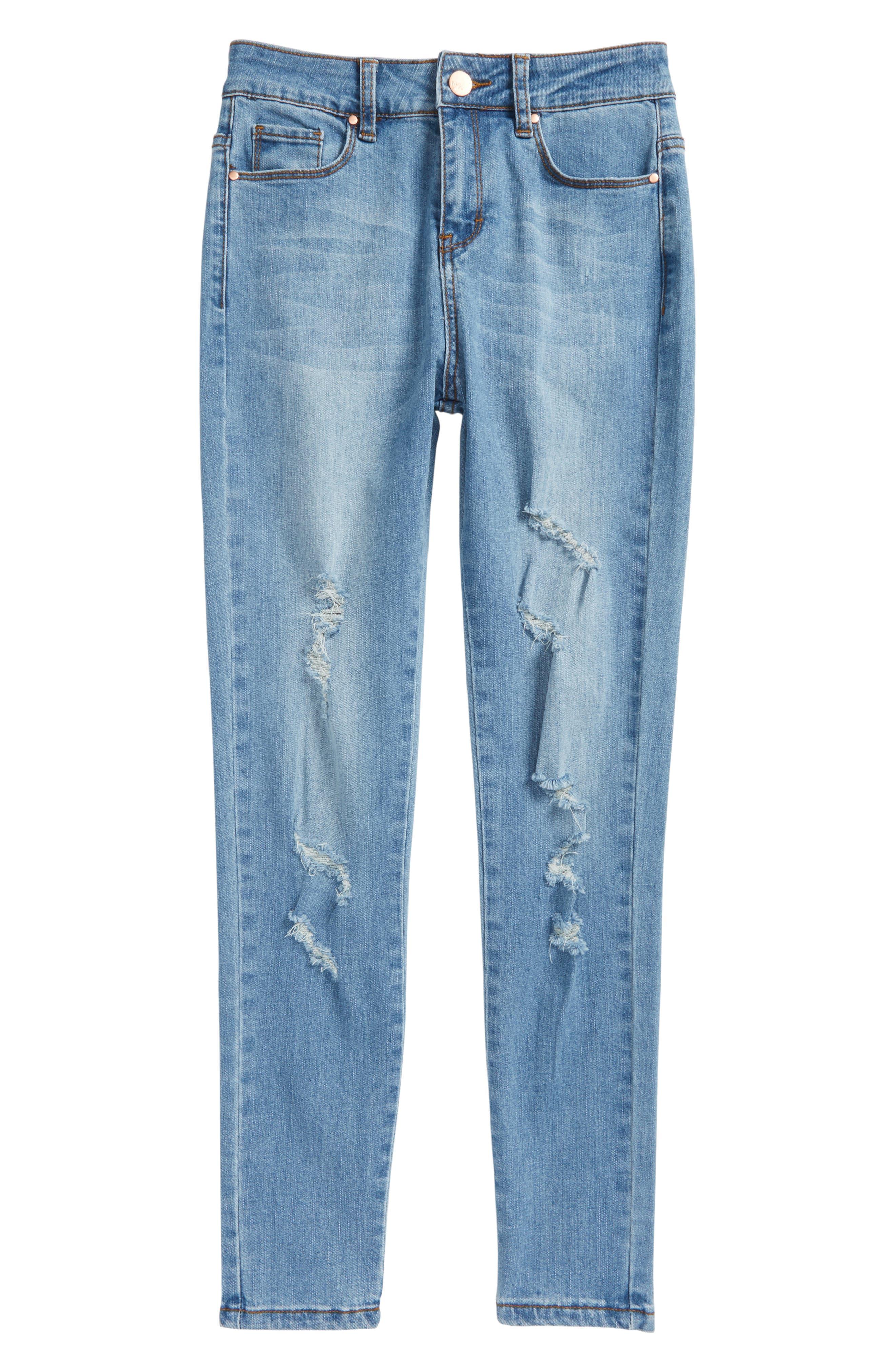 Main Image - Maddie Distressed Skinny Jeans (Big Girls)
