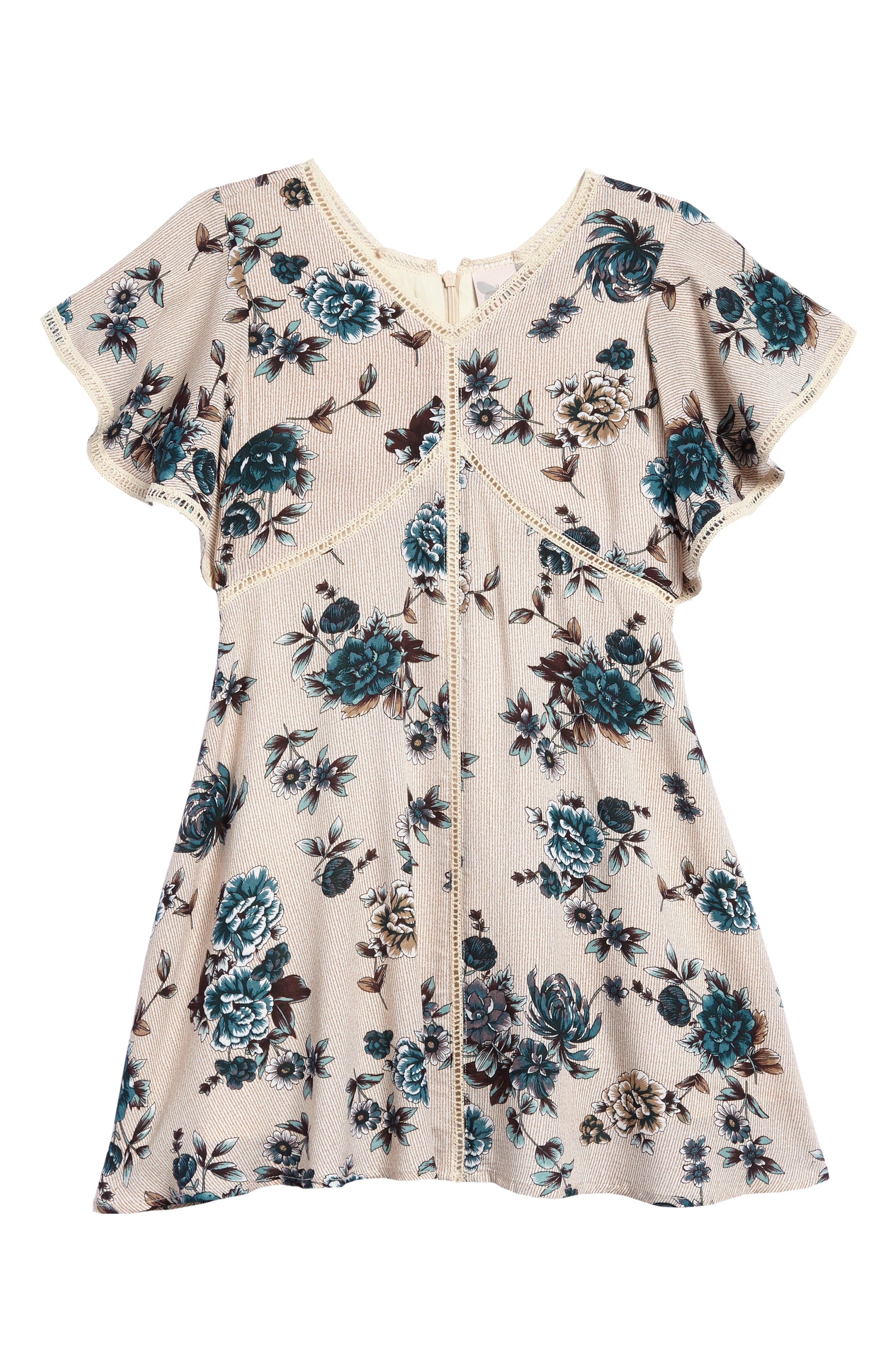 Floral Print Ruffle Sleeve Dress,                         Main,                         color, Beige/ Navy