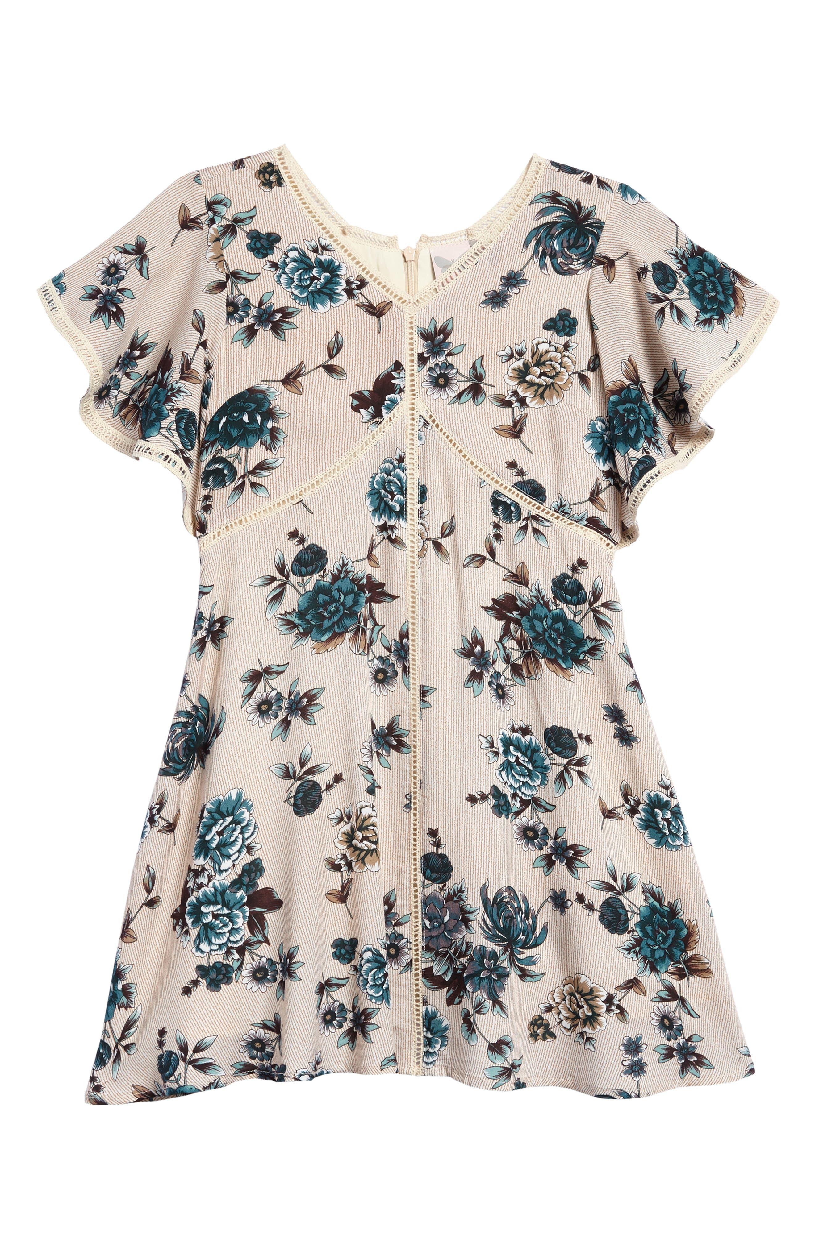 For All Seasons Floral Print Ruffle Sleeve Dress (Big Girls)