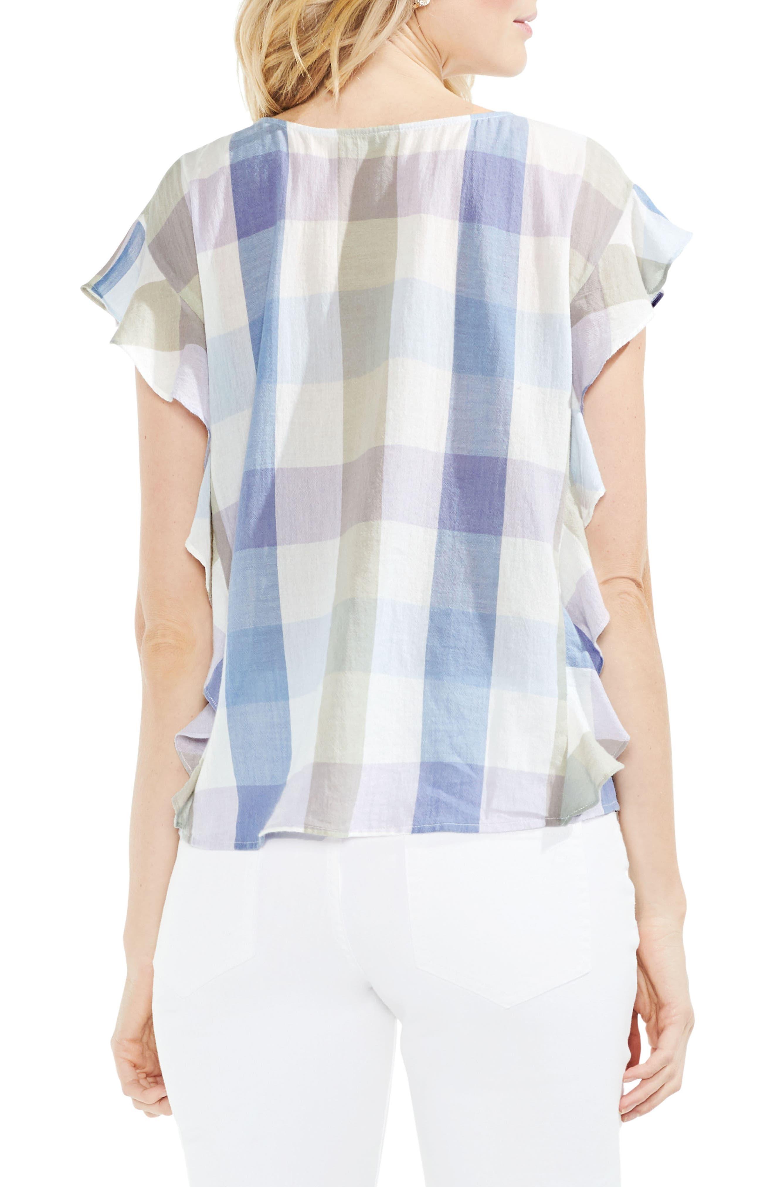 Pastel Haze Plaid Ruffle Sleeve Top,                             Alternate thumbnail 2, color,                             Oxford Blue