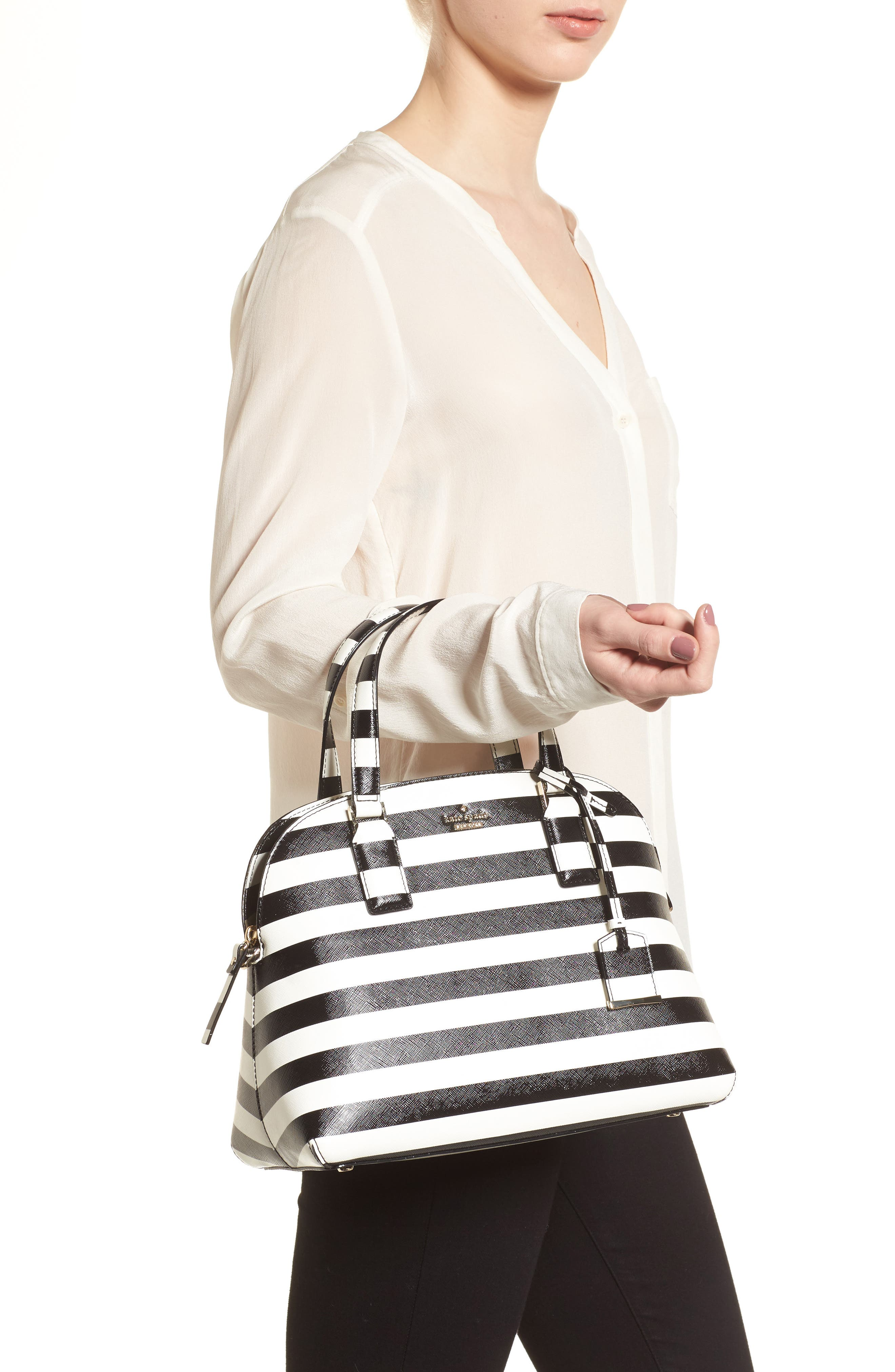 cameron street - lottie stripe satchel,                             Alternate thumbnail 2, color,                             Black/ Cream