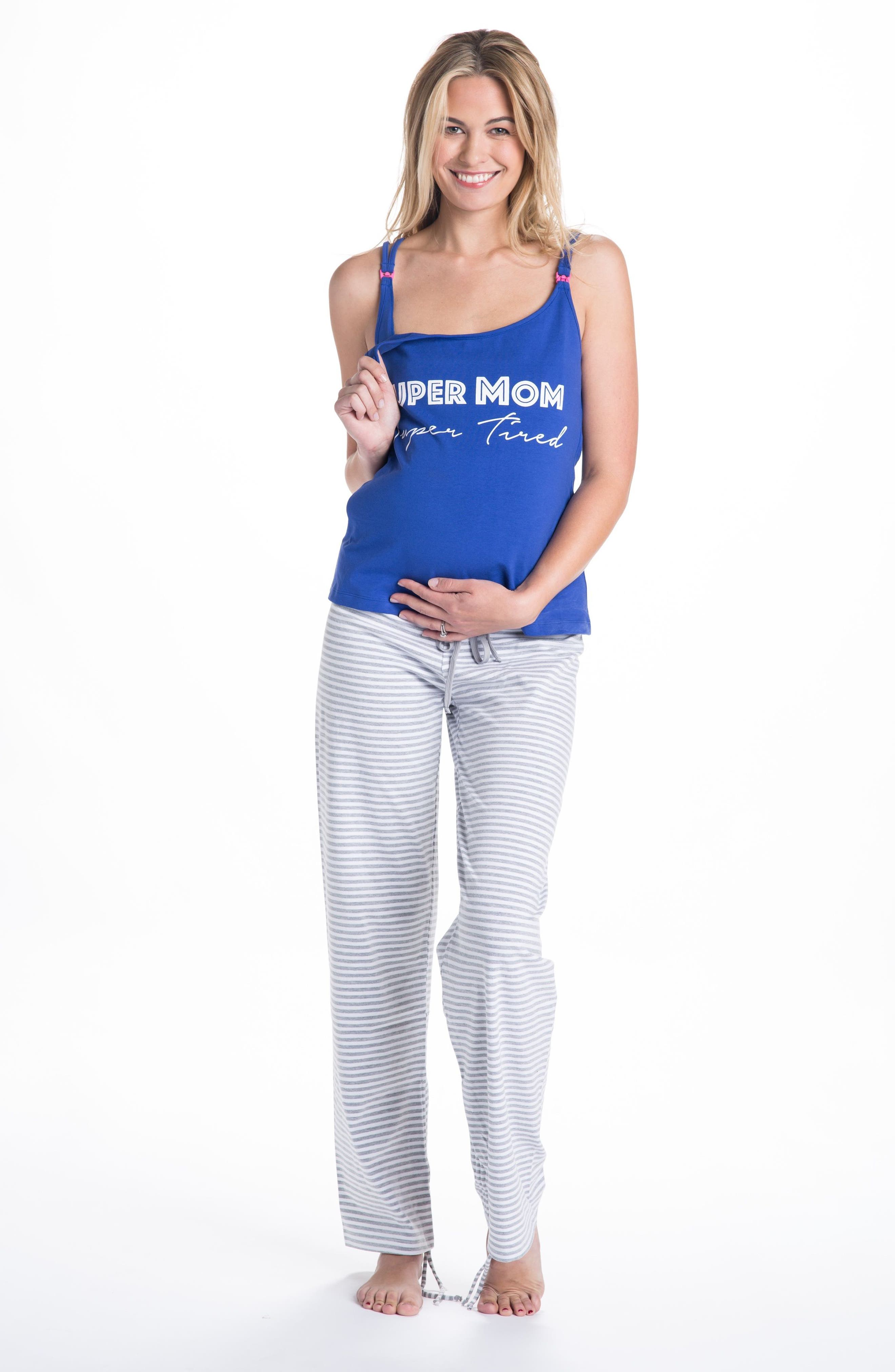 Trudy Super Mom Maternity/Nursing Pajamas,                             Alternate thumbnail 3, color,                             Navy Blue/ Gray/ White Stripes
