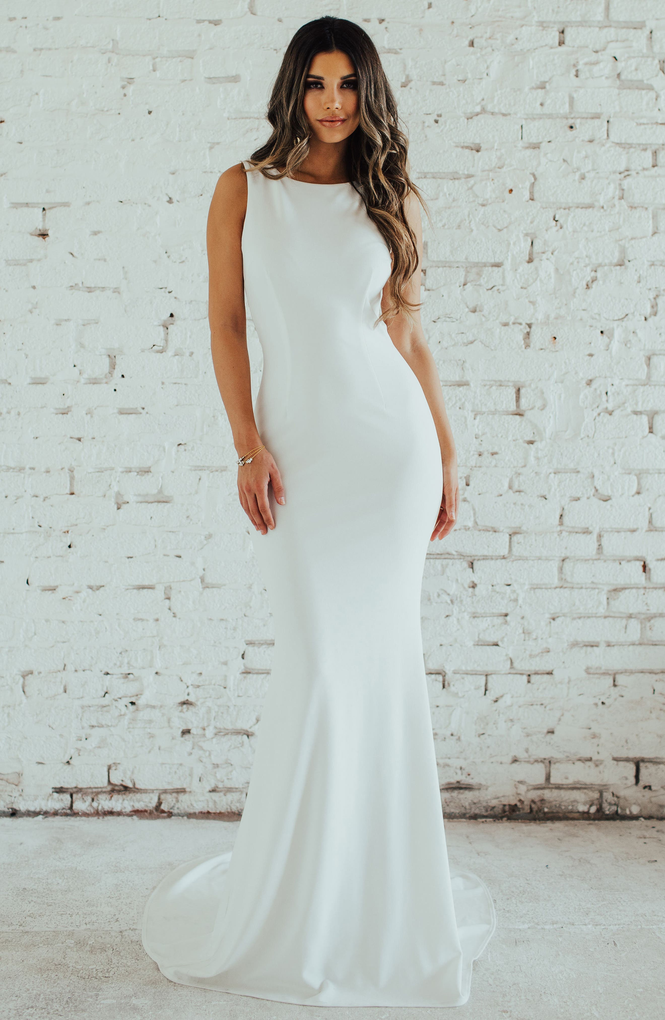 Low Back Crepe Mermaid Gown,                             Alternate thumbnail 4, color,                             Ivory