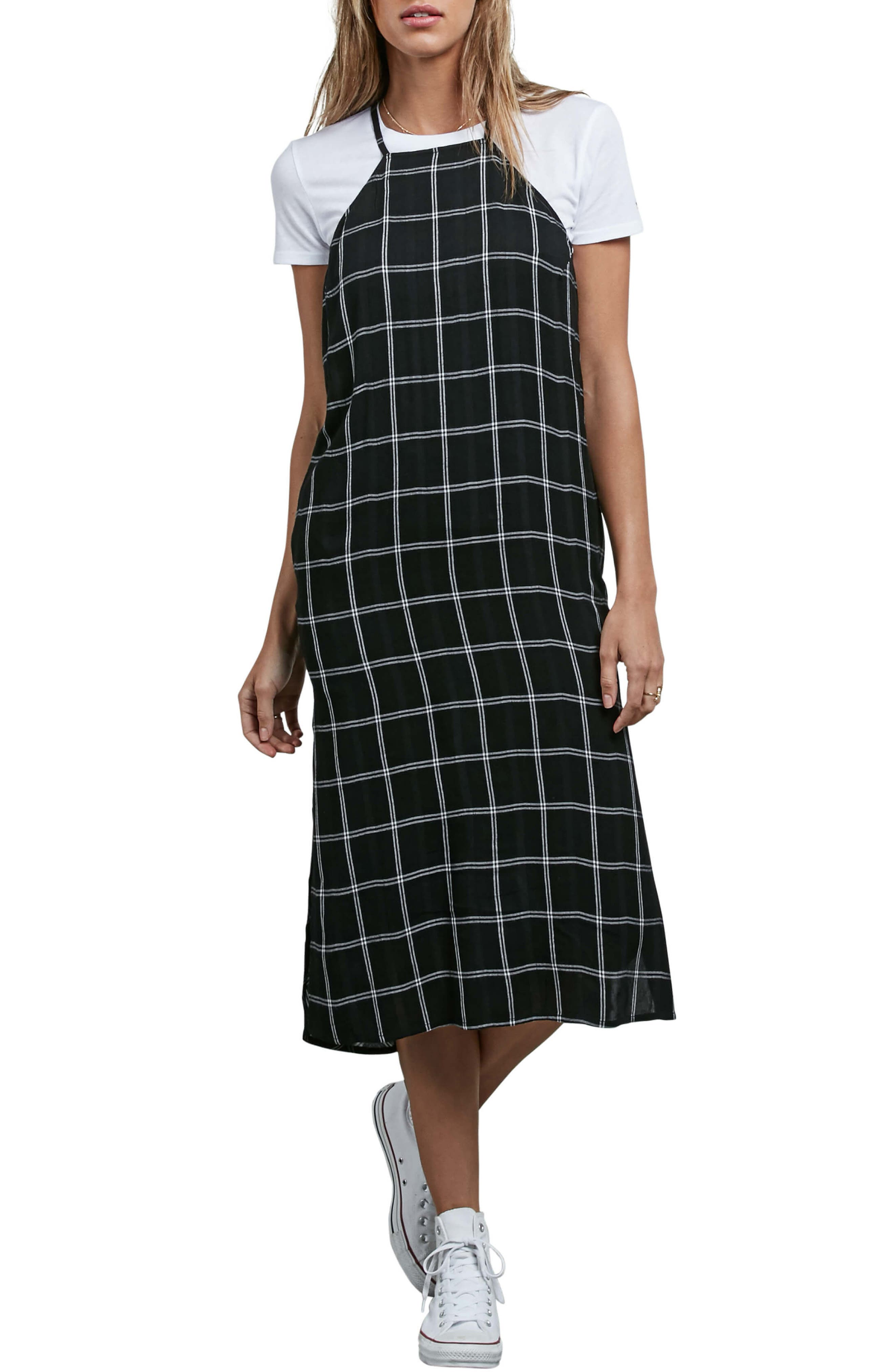 Jumponit Windowpane Print Midi Dress,                             Main thumbnail 1, color,                             Black