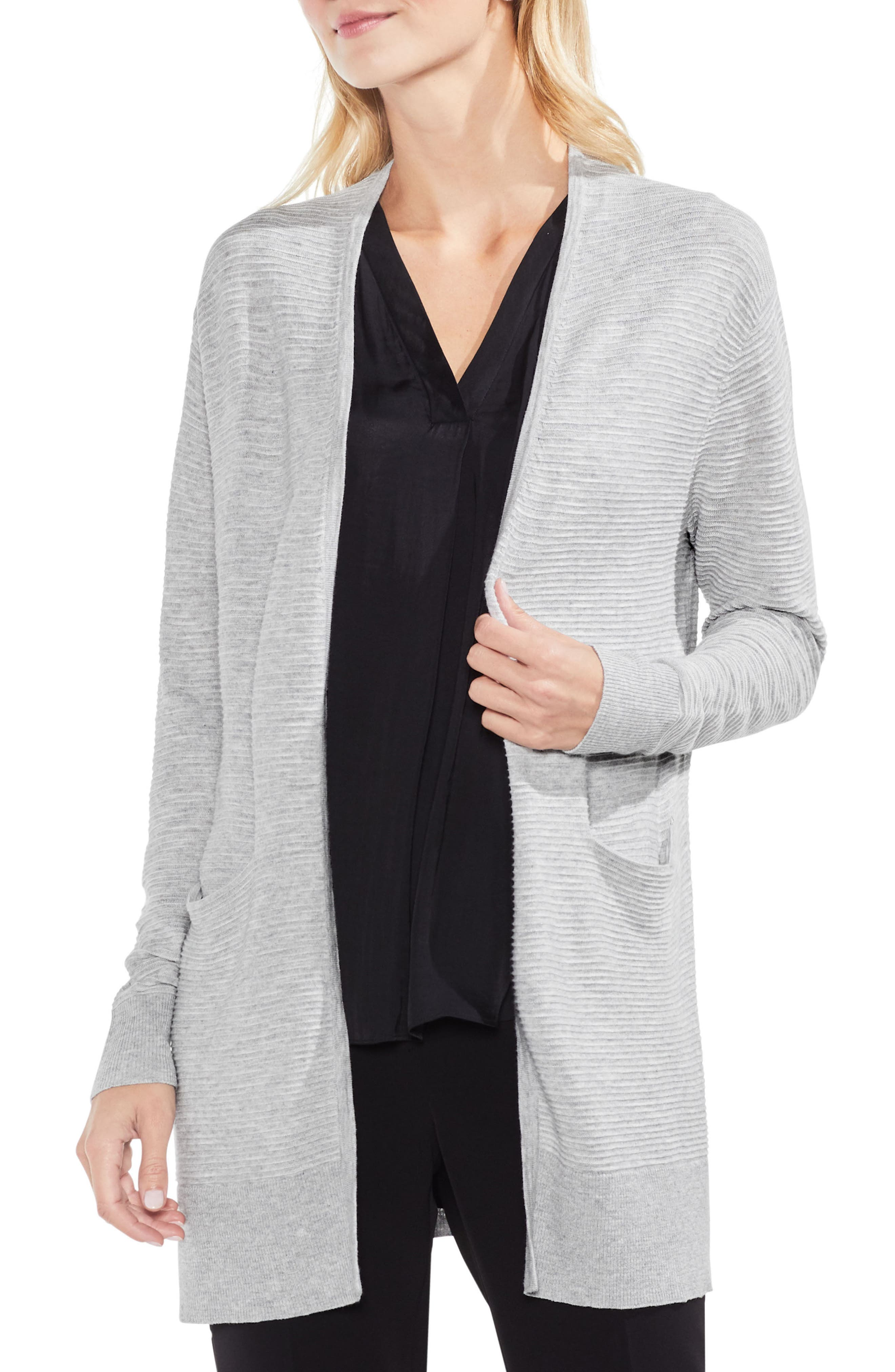 Ribbed Long Cardigan,                         Main,                         color, Grey Heather