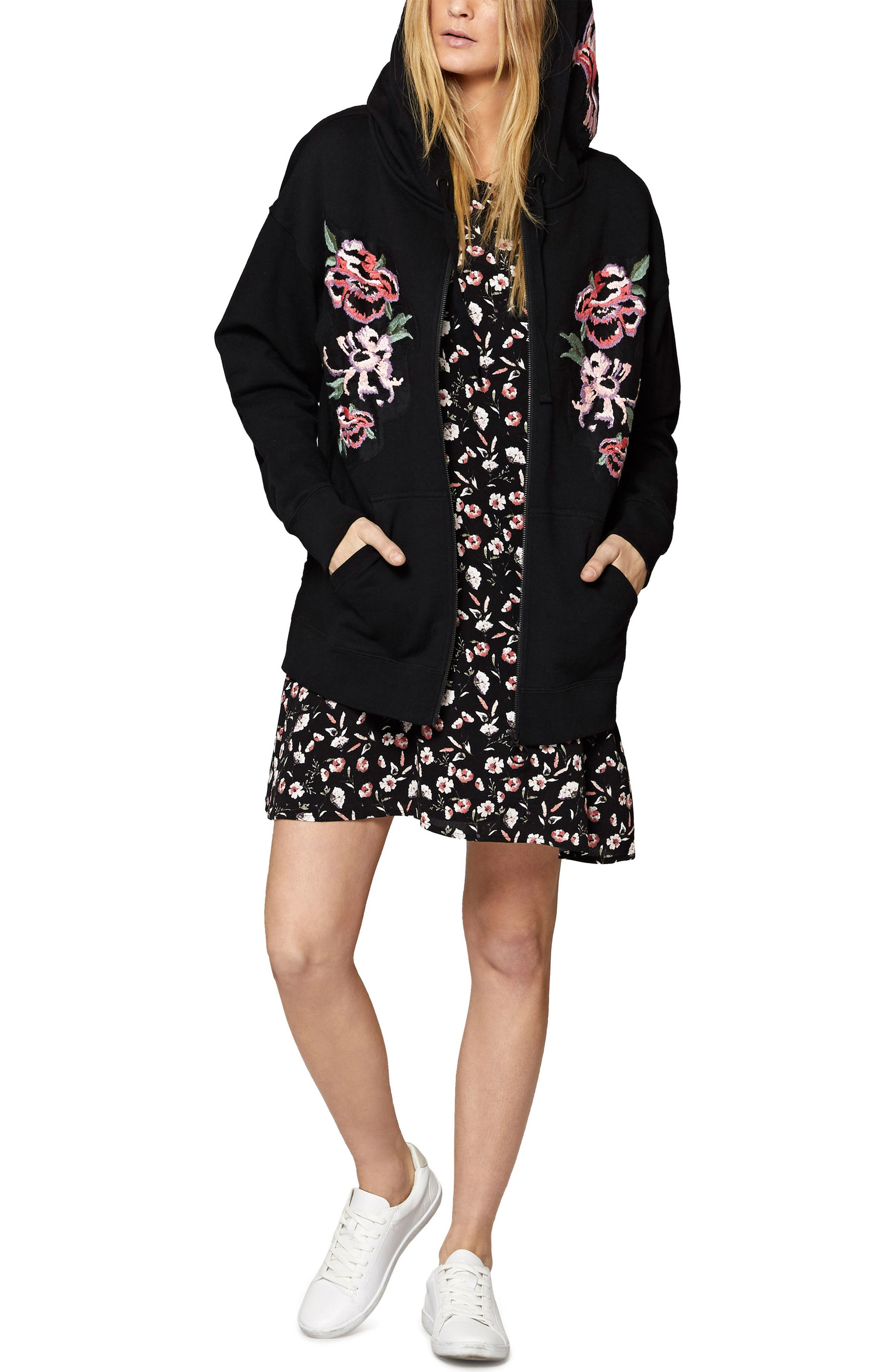 Embroidered Boyfriend Hoodie,                         Main,                         color, Black