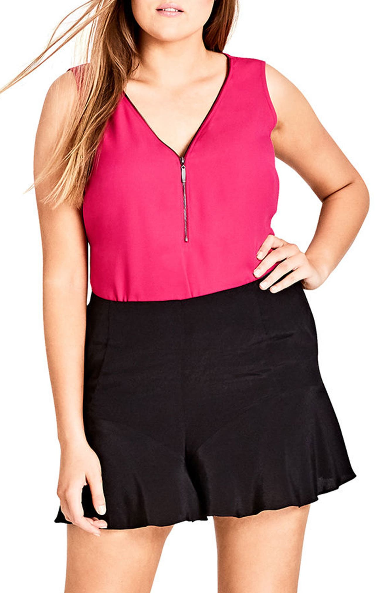 Zip Front Top,                             Main thumbnail 1, color,                             Fuchsia