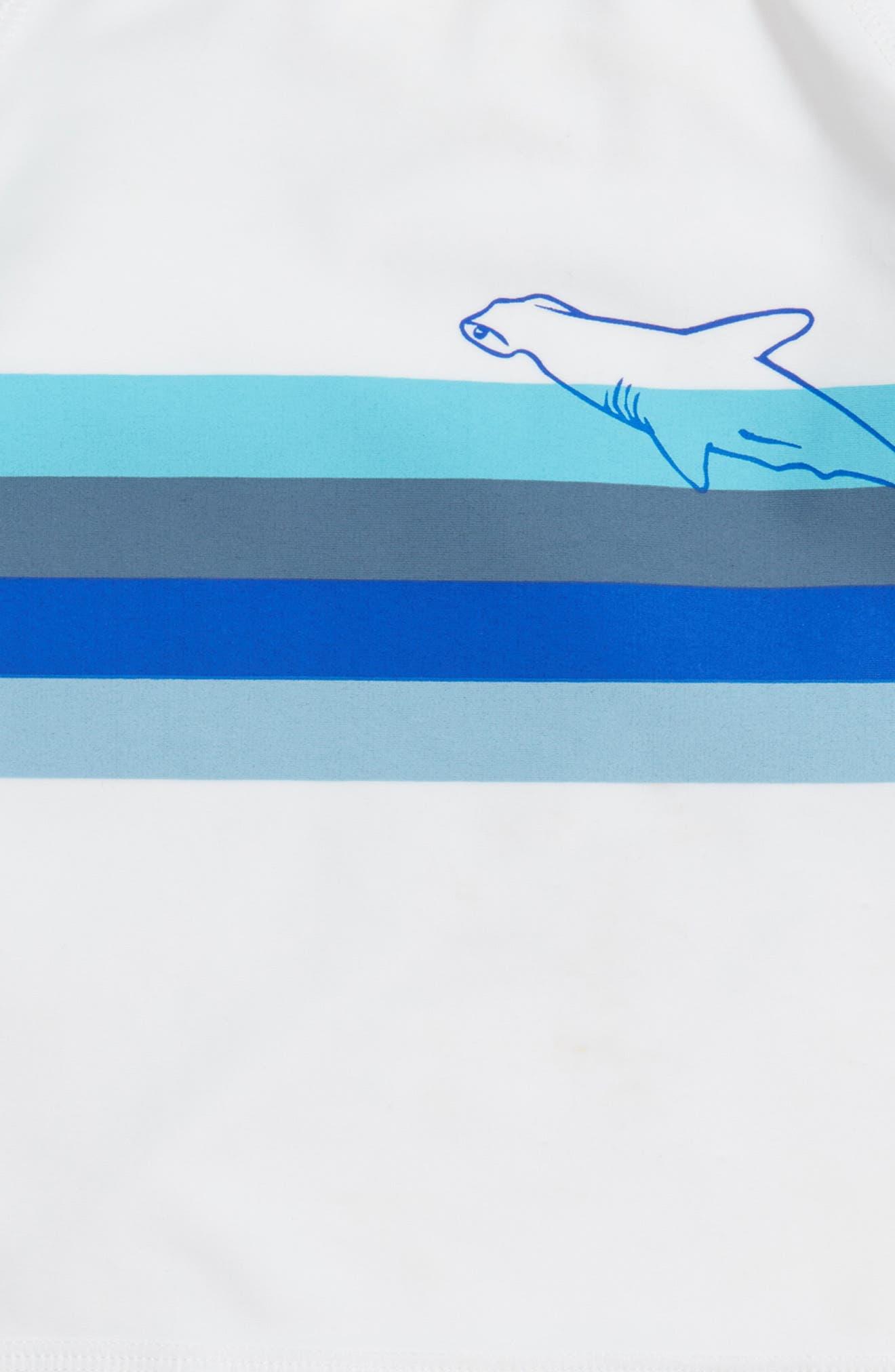 Two-Piece Rashguard Swimsuit,                             Alternate thumbnail 2, color,                             White- Blue Palm Haze