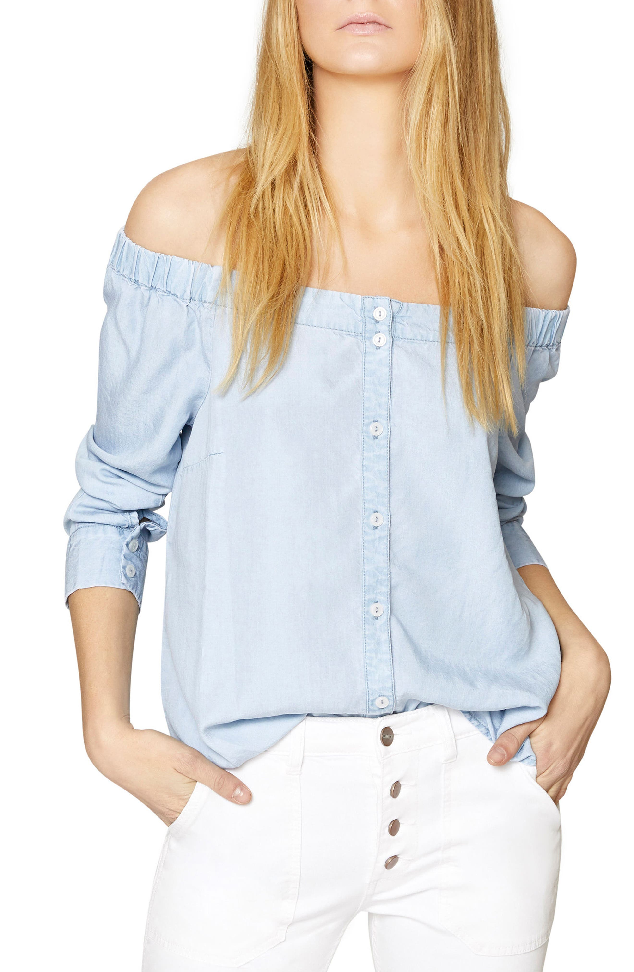 Off the Shoulder Chambray Top,                         Main,                         color, Sunlit Wash
