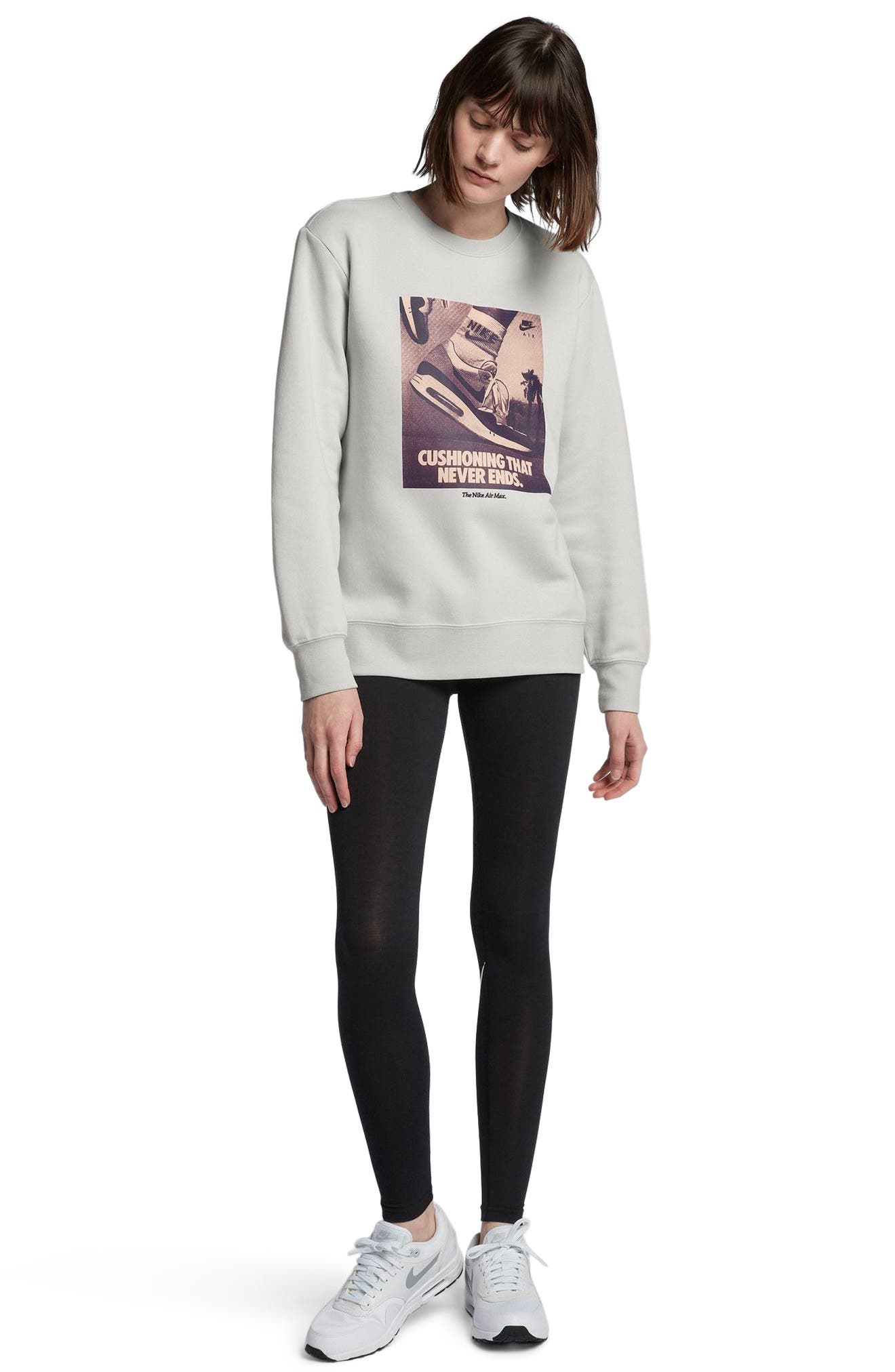 Sportswear Air Max 1 Women's Graphic Crewneck Sweatshirt,                             Alternate thumbnail 4, color,                             Vast Grey
