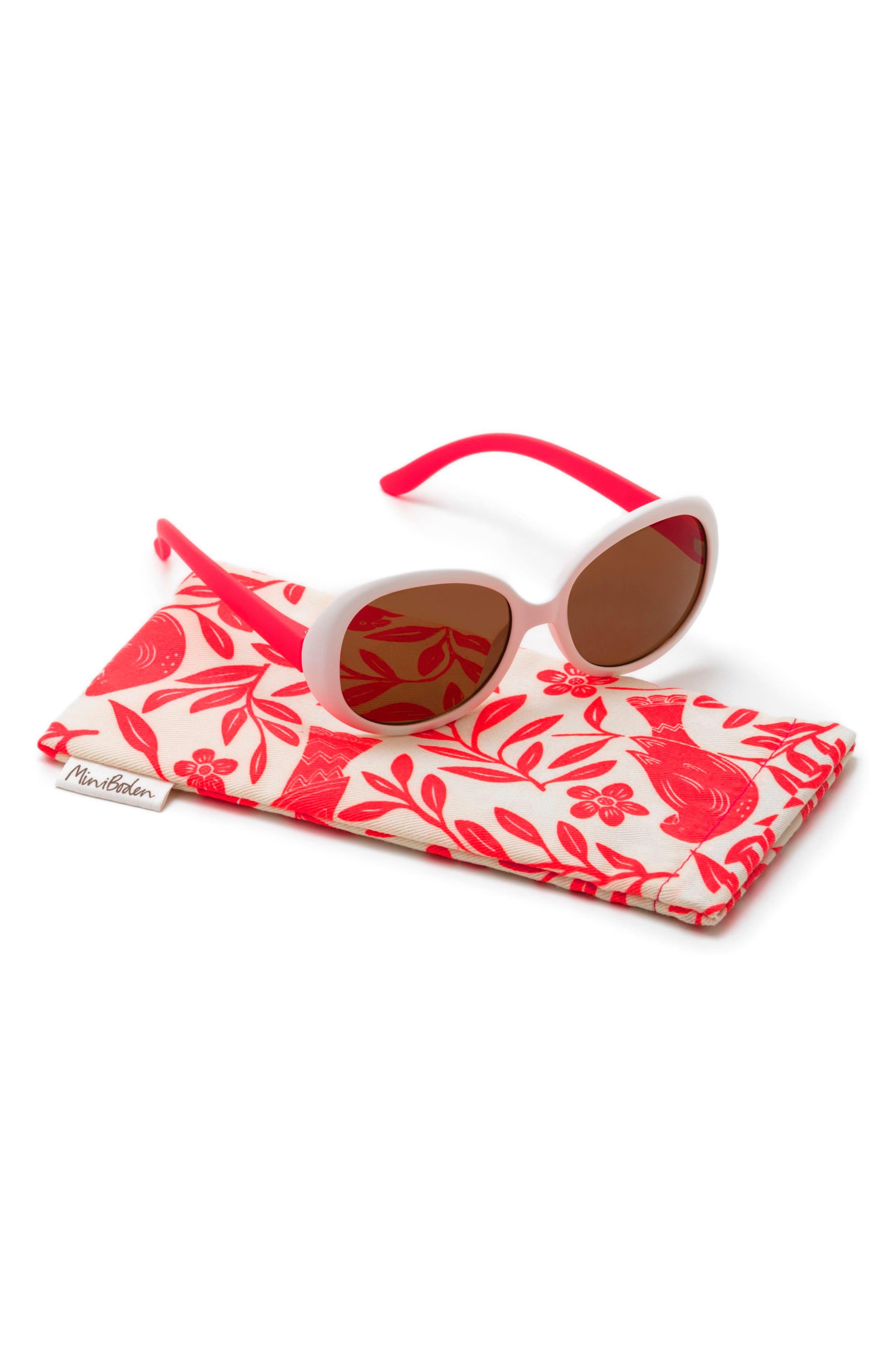 Mini Boden Sunglasses,                             Main thumbnail 1, color,                             White