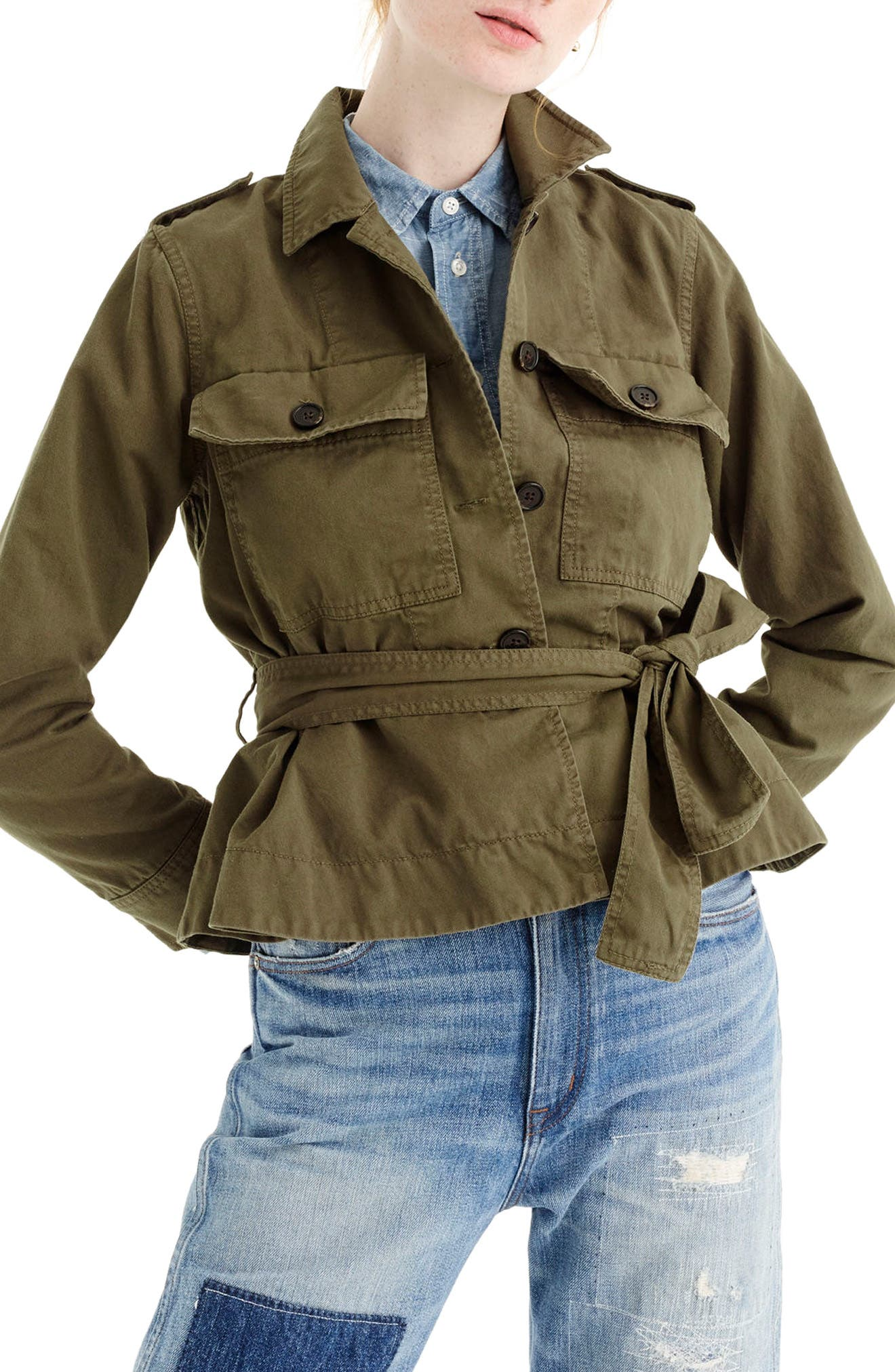 Cropped Fatigue Jacket,                         Main,                         color, Tuscan Olive