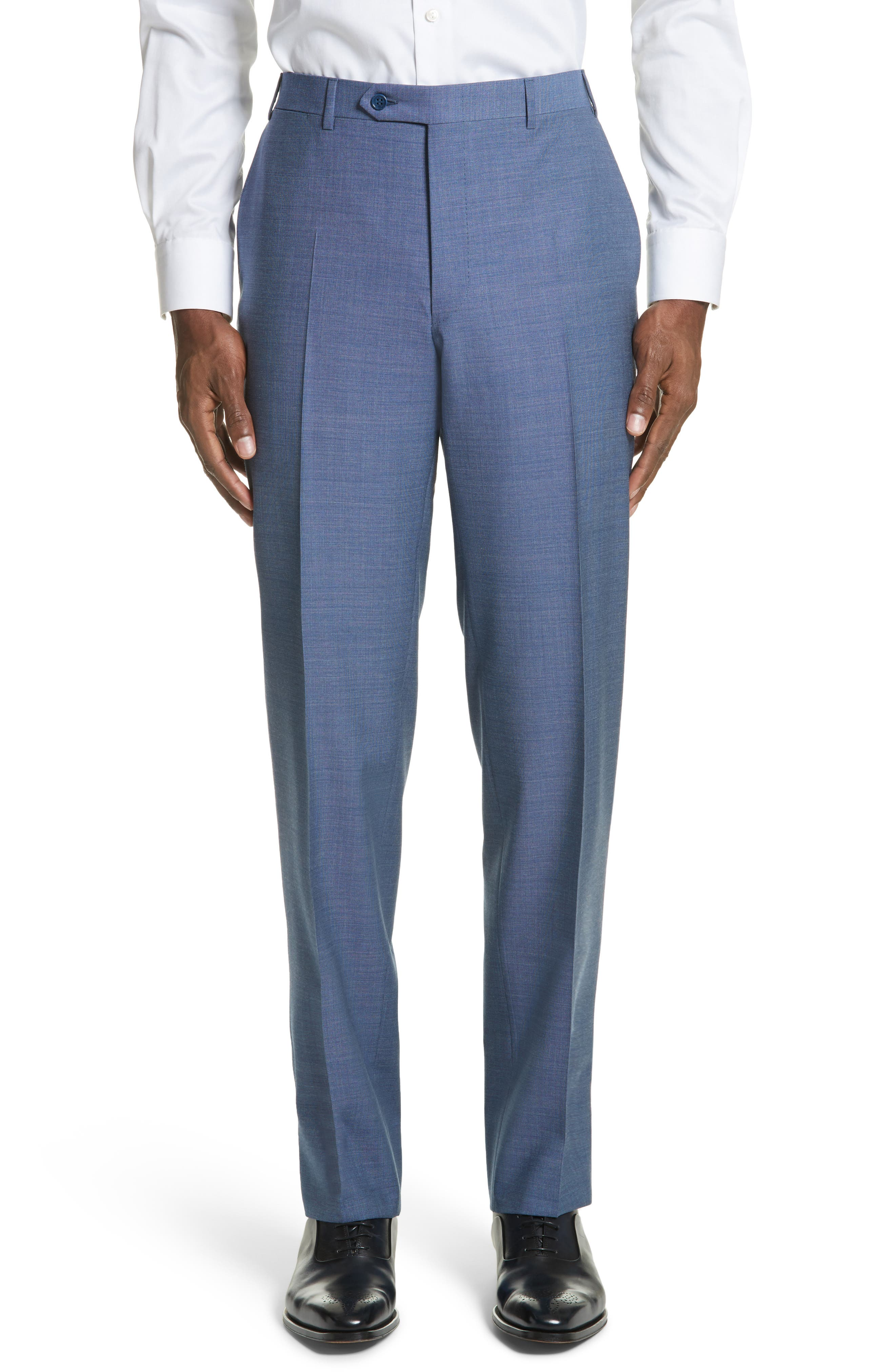 Alternate Image 1 Selected - Canali Flat Front Solid Wool Trousers