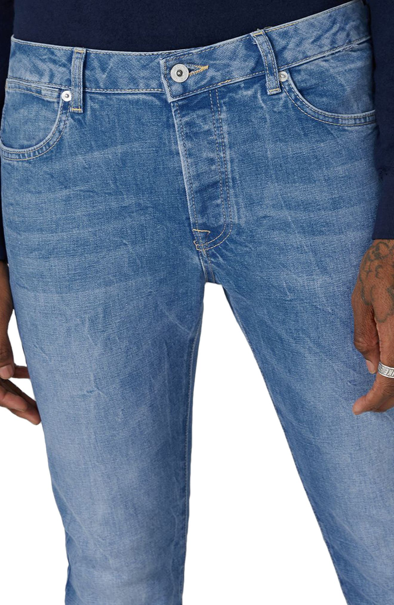 Stretch Slim Leg Jeans,                             Alternate thumbnail 3, color,                             Bright Blue