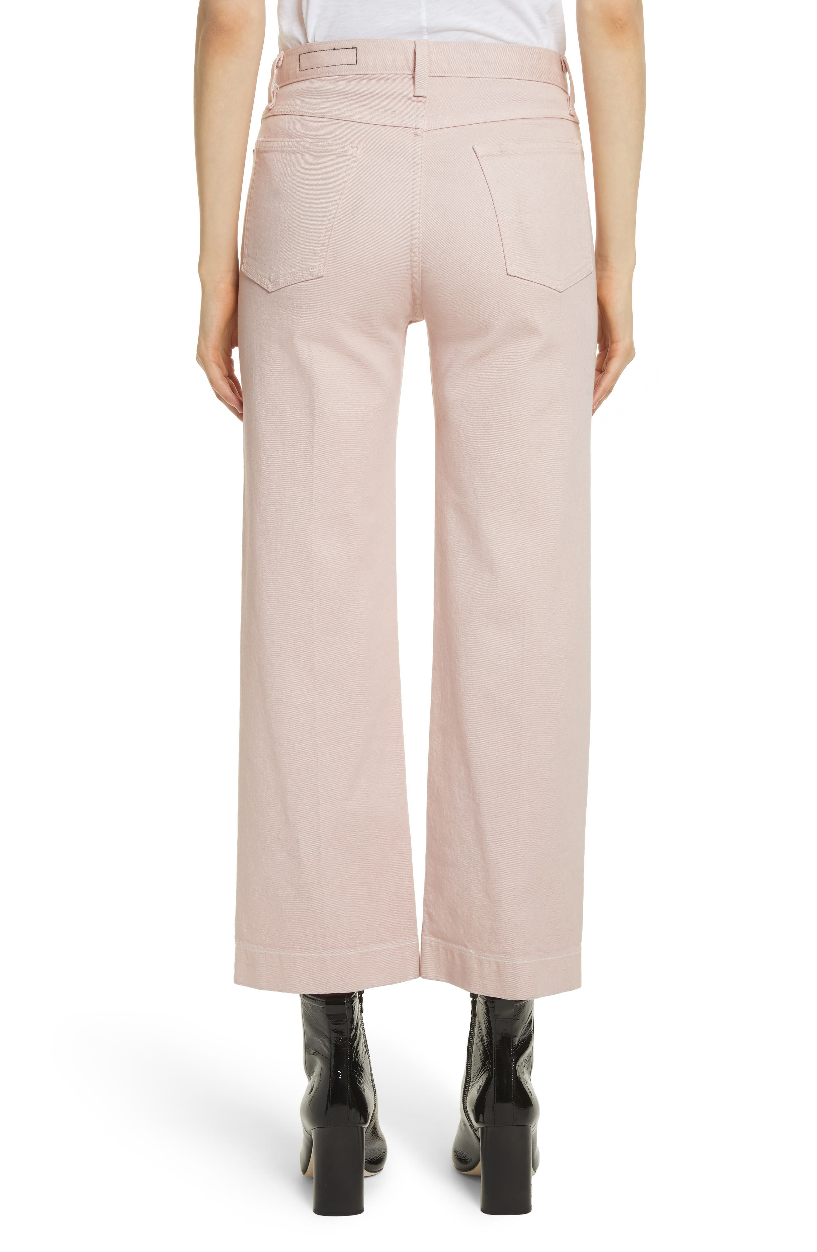 Justine High Waist Trouser Jeans,                             Alternate thumbnail 2, color,                             Blush Twill