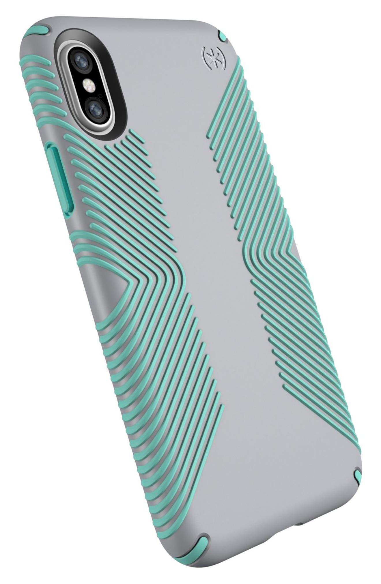 iPhone X Case,                             Alternate thumbnail 4, color,                             Dolphin Grey/ Aloe Green