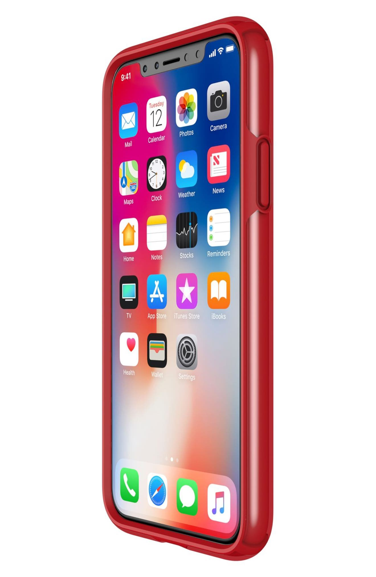 Transparent iPhone X Case,                             Alternate thumbnail 7, color,                             Clear/ Heartthrob Red