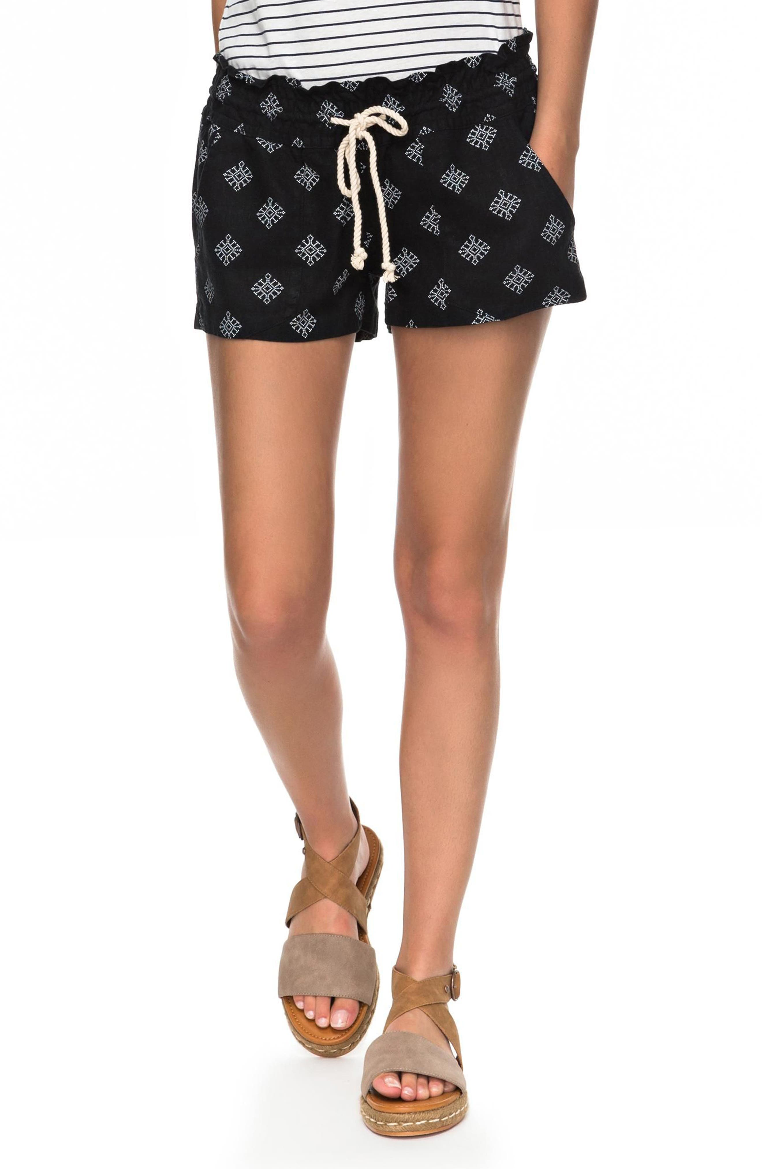 Oceanside Printed Drawstring Shorts,                         Main,                         color, Anthracite Pearly Tiles