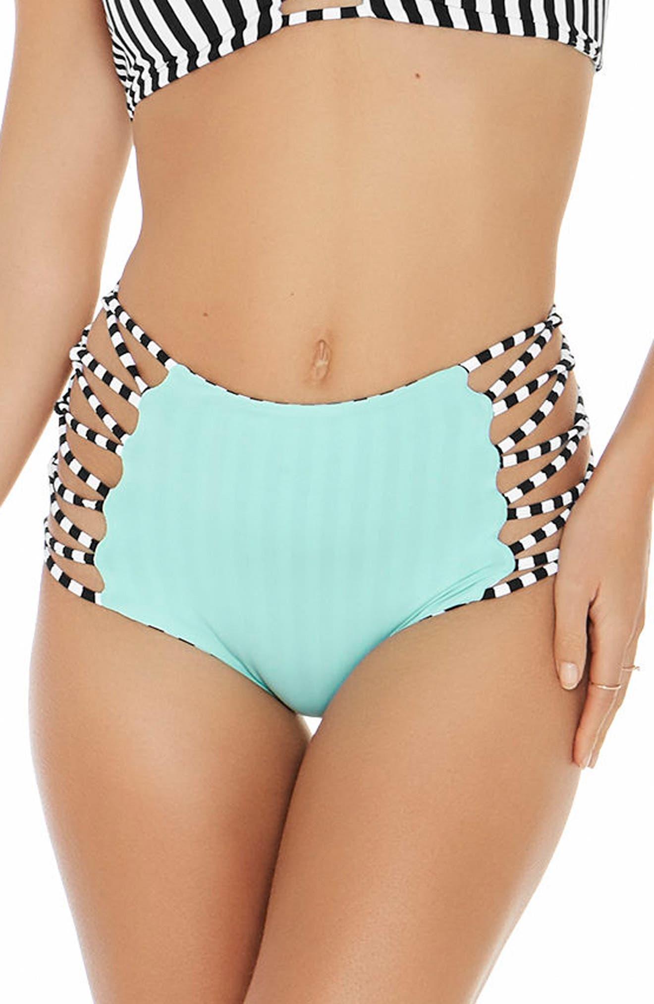 Domino Stripe Reversible Bikini Bottoms,                             Alternate thumbnail 2, color,                             Domino Stripe