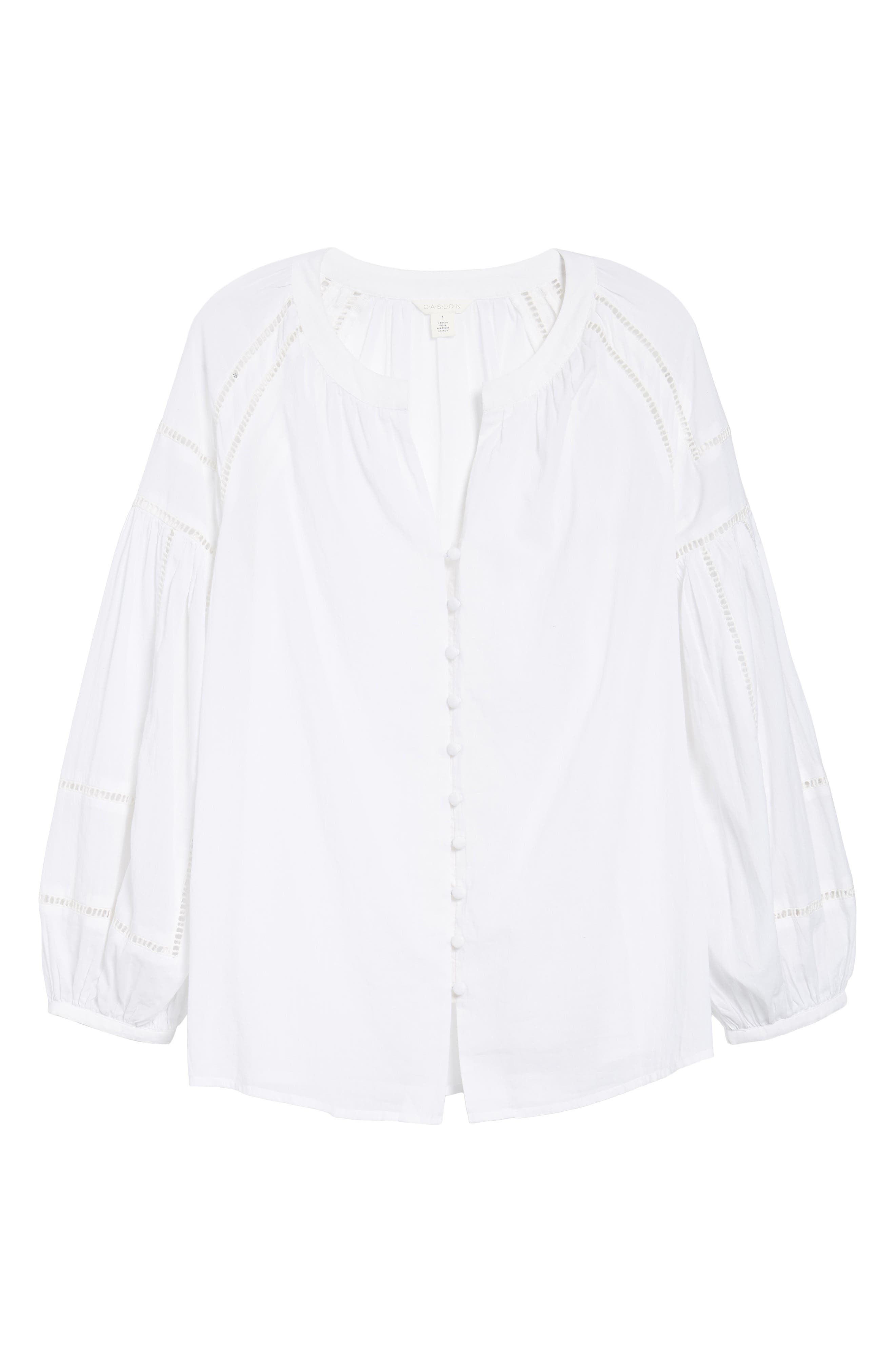 Embroidered Peasant Sleeve Top,                             Alternate thumbnail 6, color,                             White