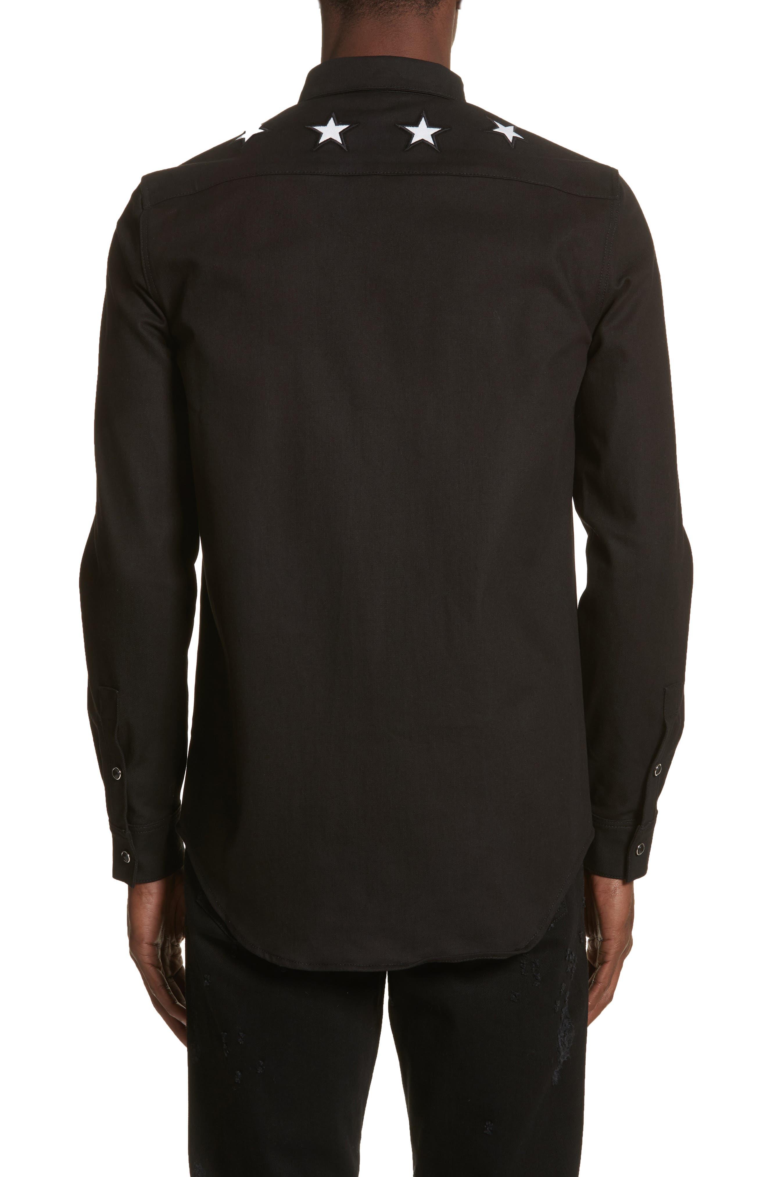 Denim Shirt,                             Alternate thumbnail 3, color,                             Black