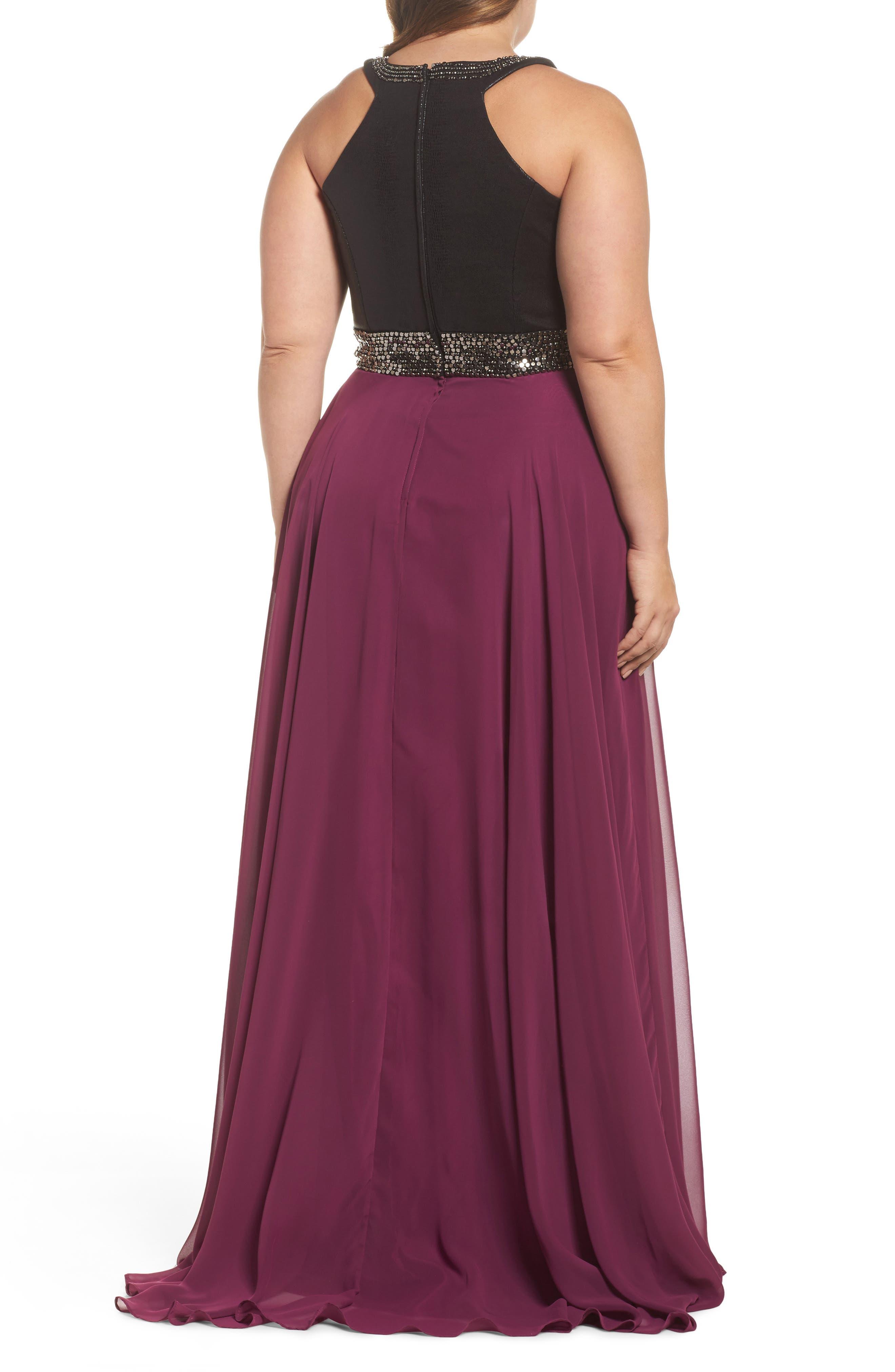 Beaded High Neck Gown,                             Alternate thumbnail 2, color,                             Purple/ Black