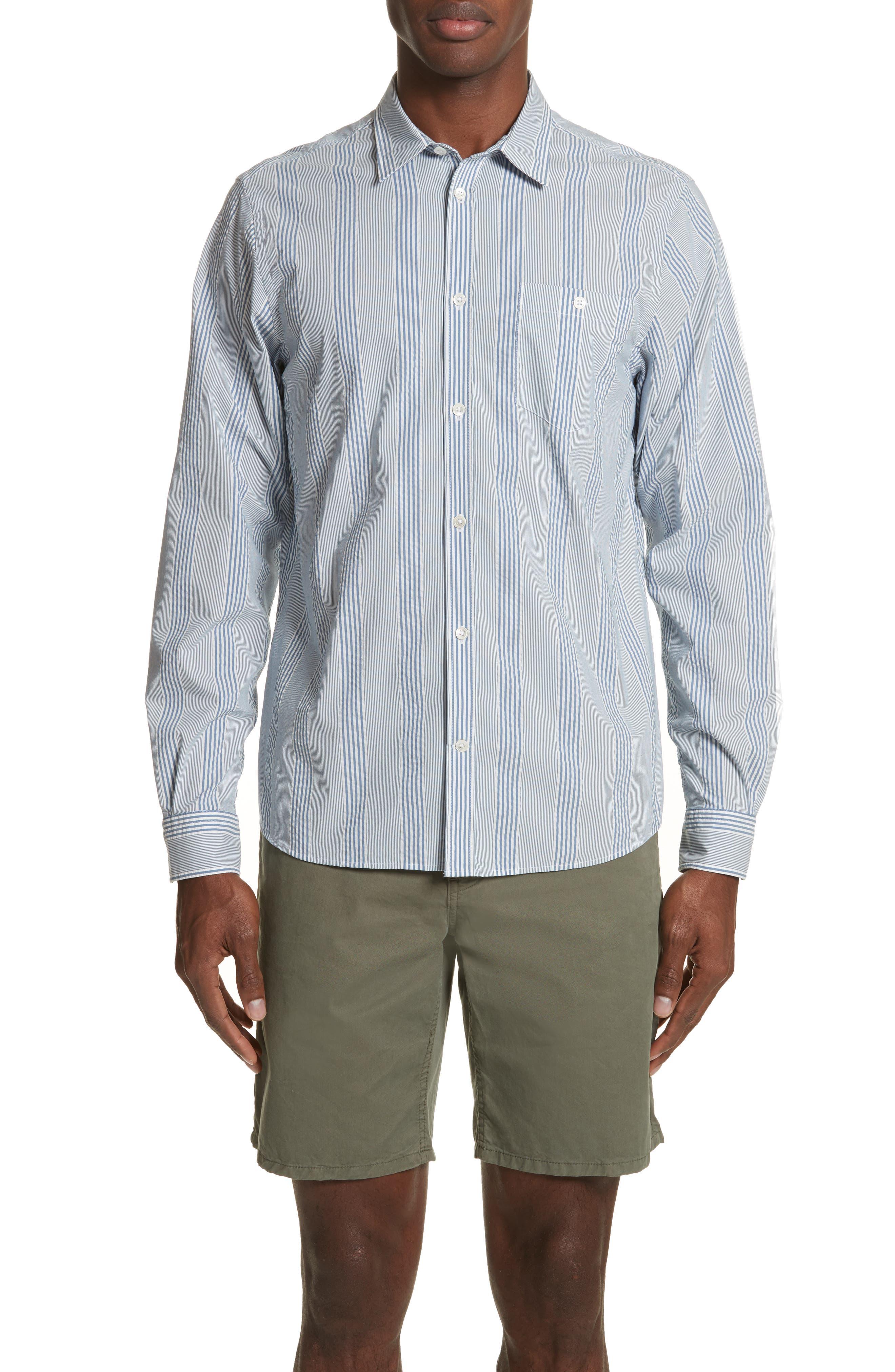 Osvald Seersucker Shirt,                         Main,                         color, Luminous Blue